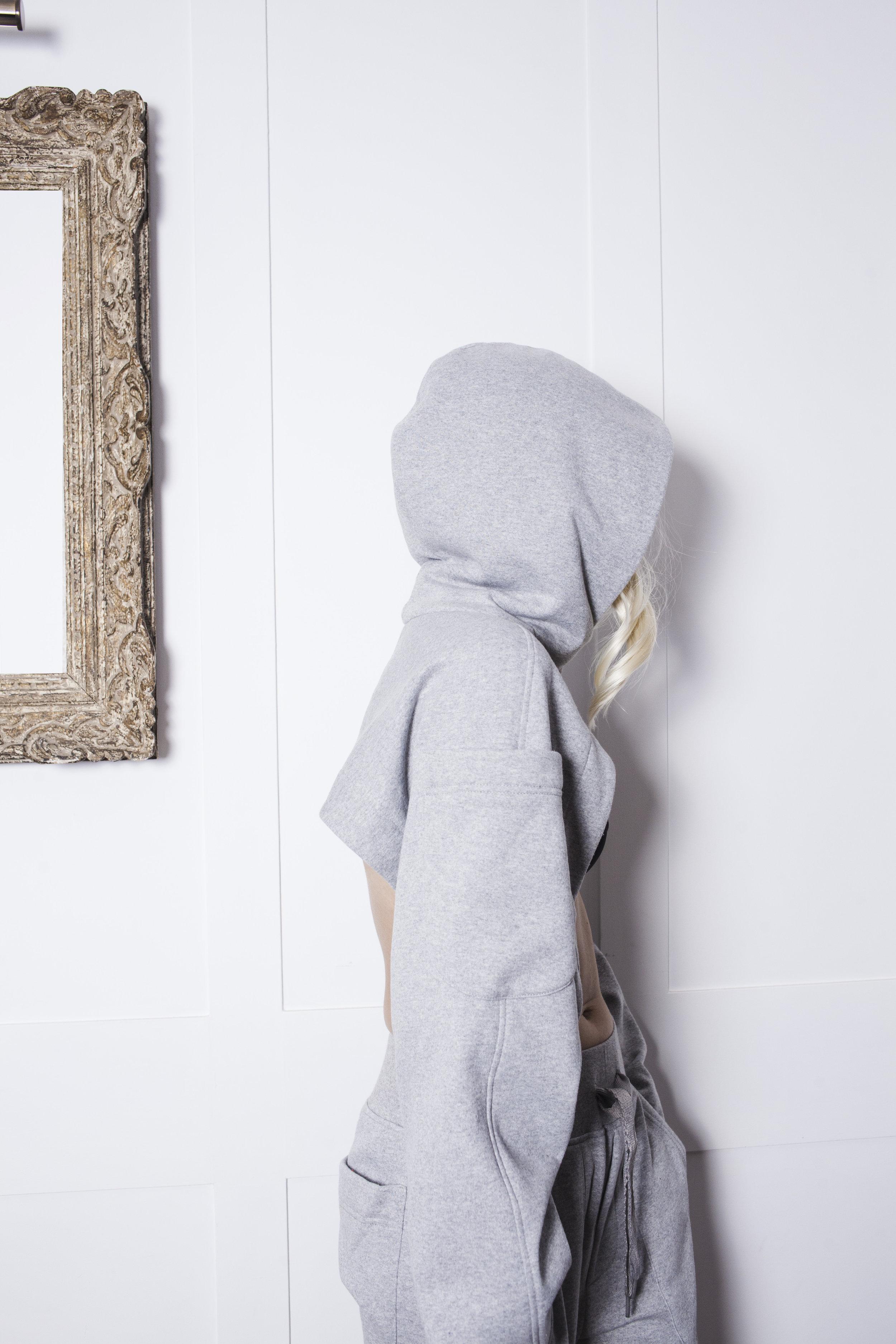 SWEATSHIRT NO. 5  Jogger Hoodie SHRUG  w/ 3D sleeve pockets
