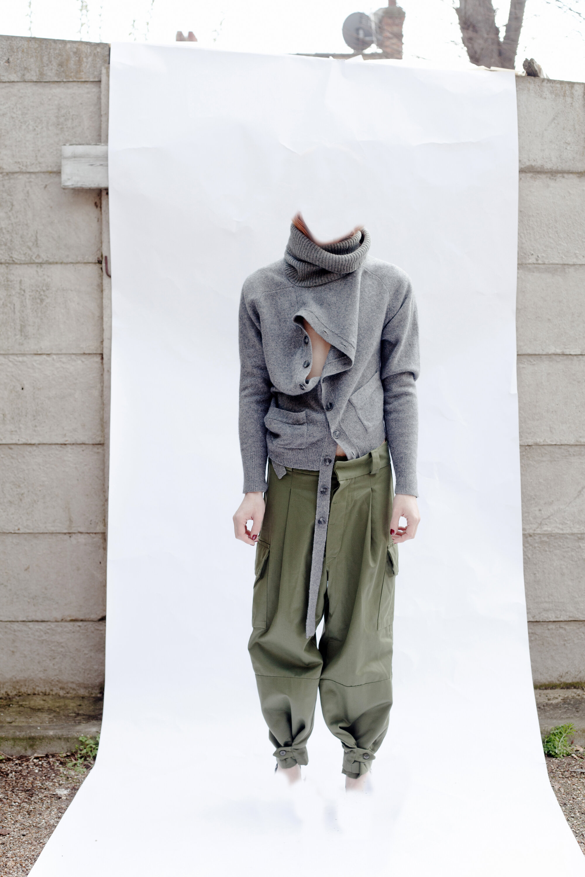 DRESS Crisis Collection: Hybrid Polo Cardigan in Grey Wool & Reconstituted Combats Trousers #dressltd