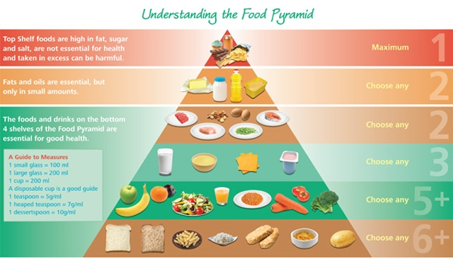 The old pyramid has been replaced by the Portion Plate which has lowered the intake of carbohydrates. See diagram below.