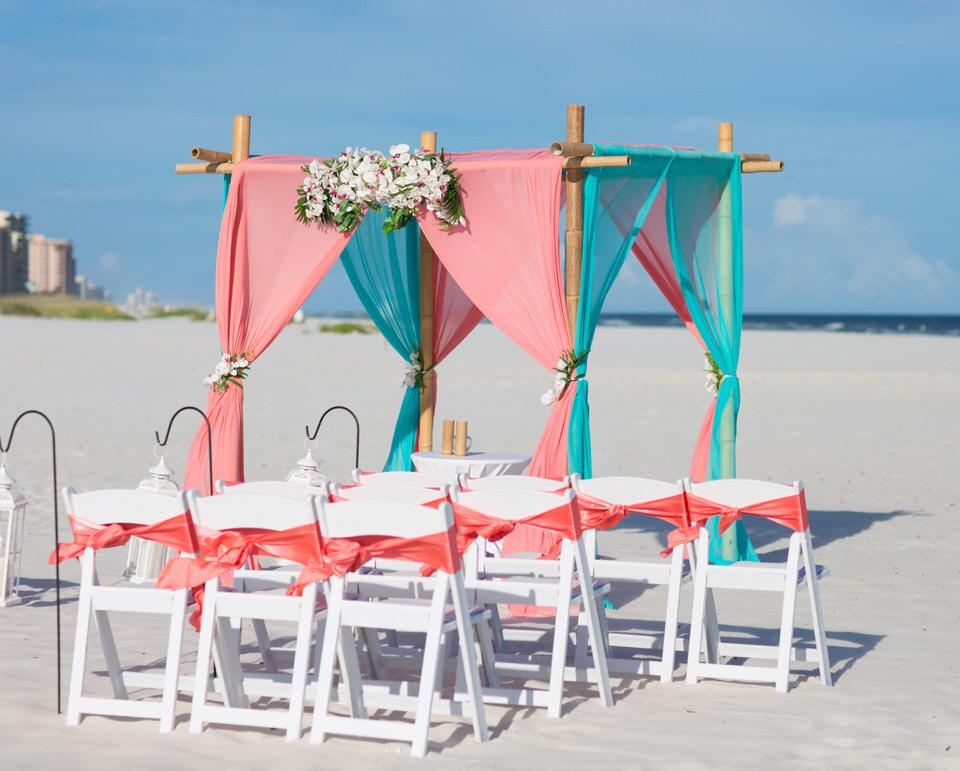 coral wedding setup
