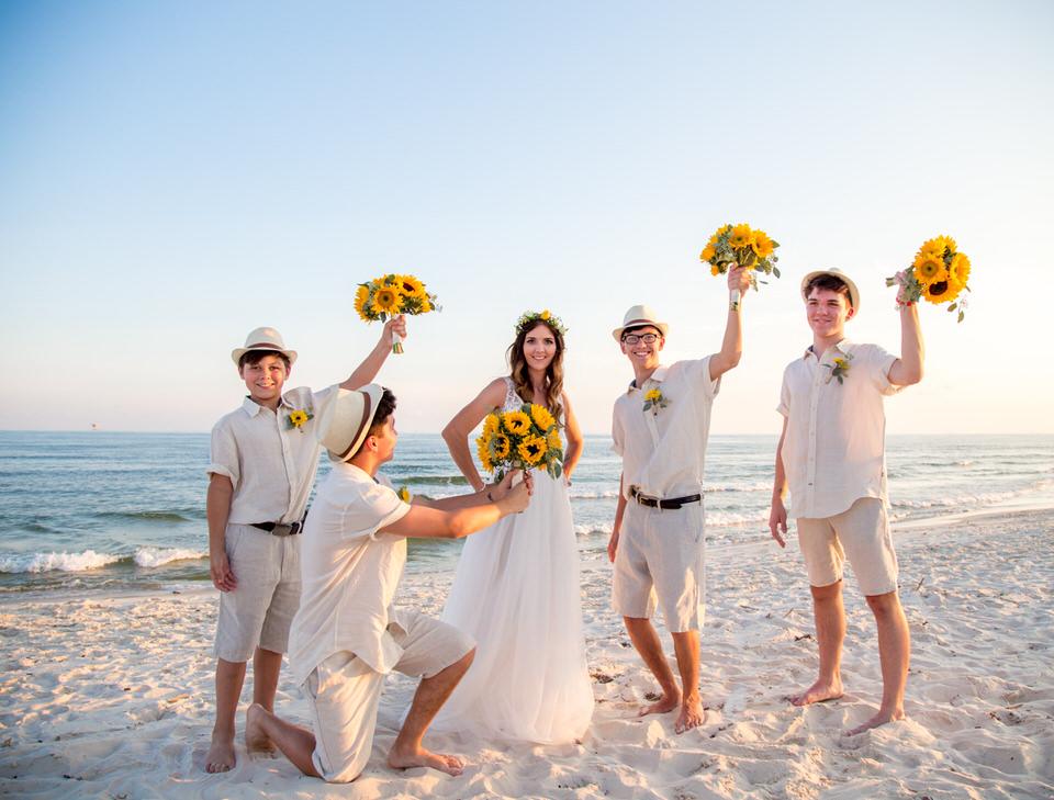 ocean wedding party