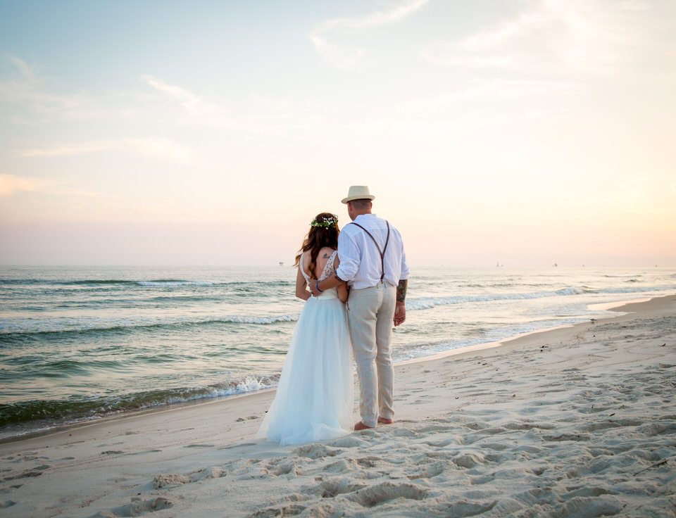 sunset ocean wedding