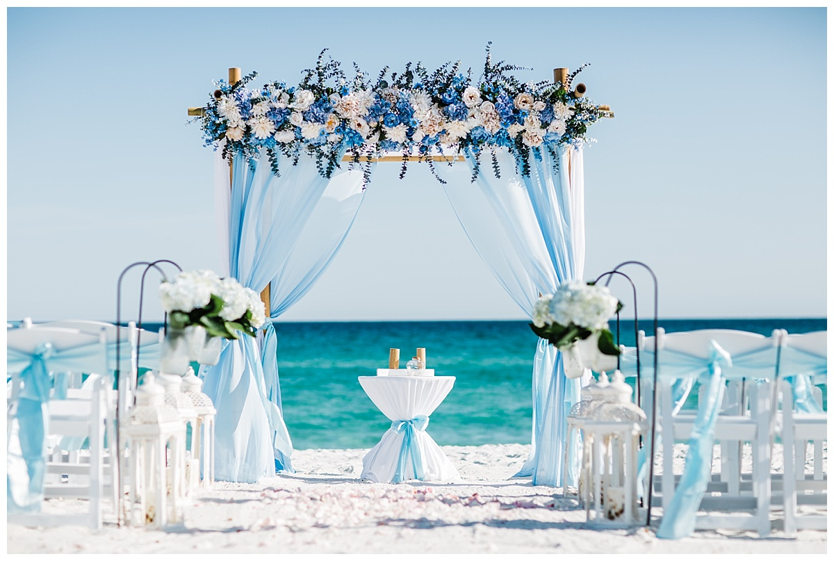Baby Blue Flowers and Fabric Decor