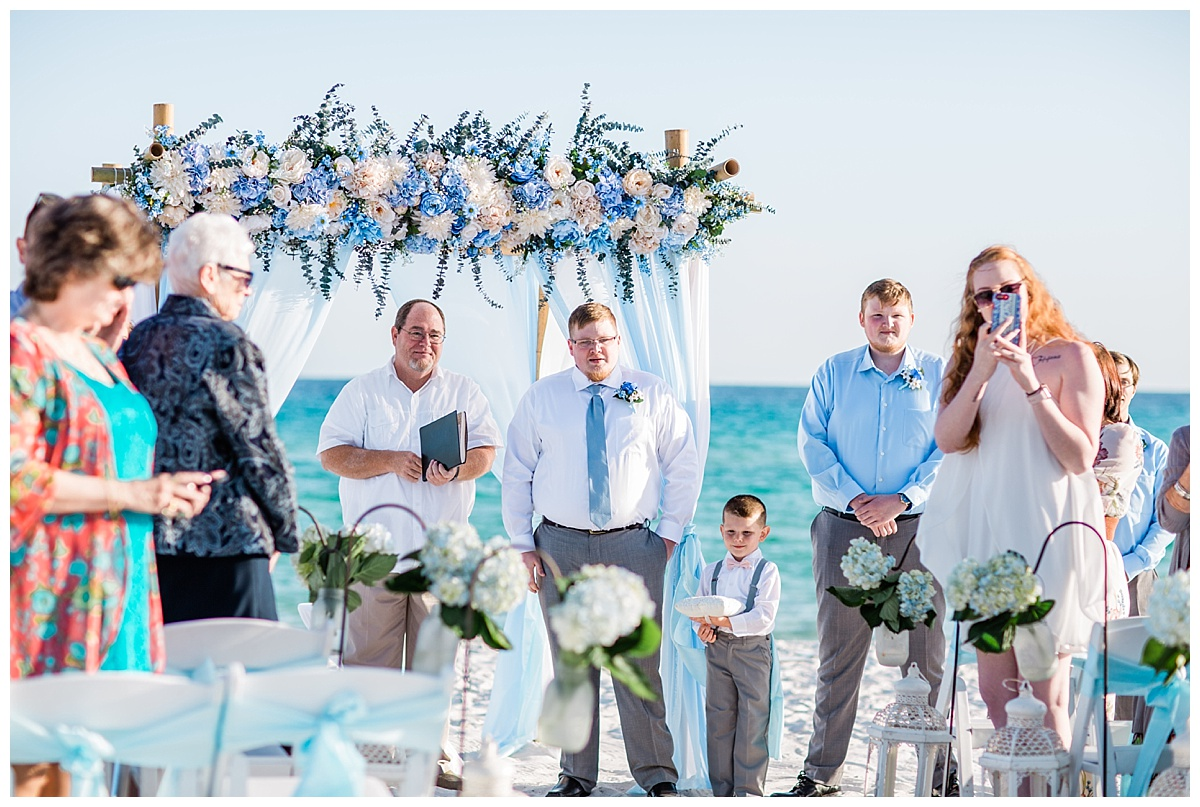 The groom gets emotional when he sees the bride