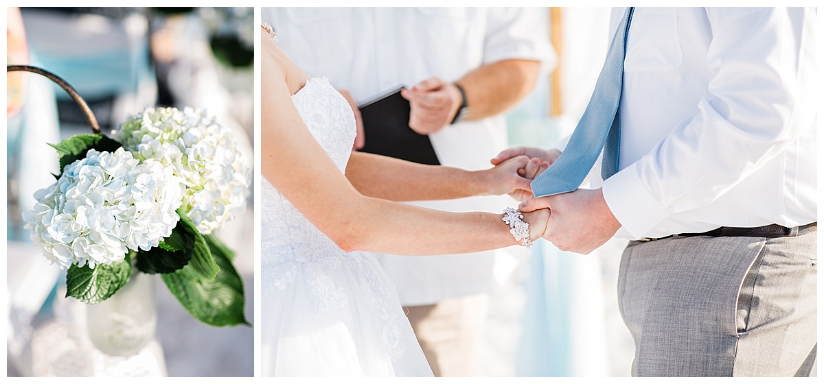 Holding hands on your wedding day