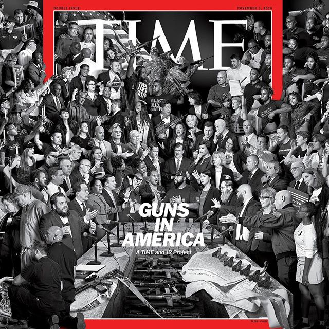 Arguments get us nowhere yet conversations are how all progress begins. In August an amazing team and I shot this @Time cover with @JR that hits news stands around the world tomorrow 💥  A beautiful reminder that impact knows no medium, cameras are for more than pictures, and artists create more than beauty. Keep inventing, keep collaborating, and keep your mind and tools focused on the things that matter to YOU 💥  If you have a chance to pick up a copy tomorrow, SEND ME A SELFIE ON WHATSAPP (currently out of the country) IT'LL MAKE MY DAY! 🐒  Much love to the one of the best teams I've ever had the privilege of working with 💥 • • • • • • • • • • • • • • #TIME #GUNSINAMERICA #GUNVIOLENCE #CONVERSATIONS #LISTENINGISKEY