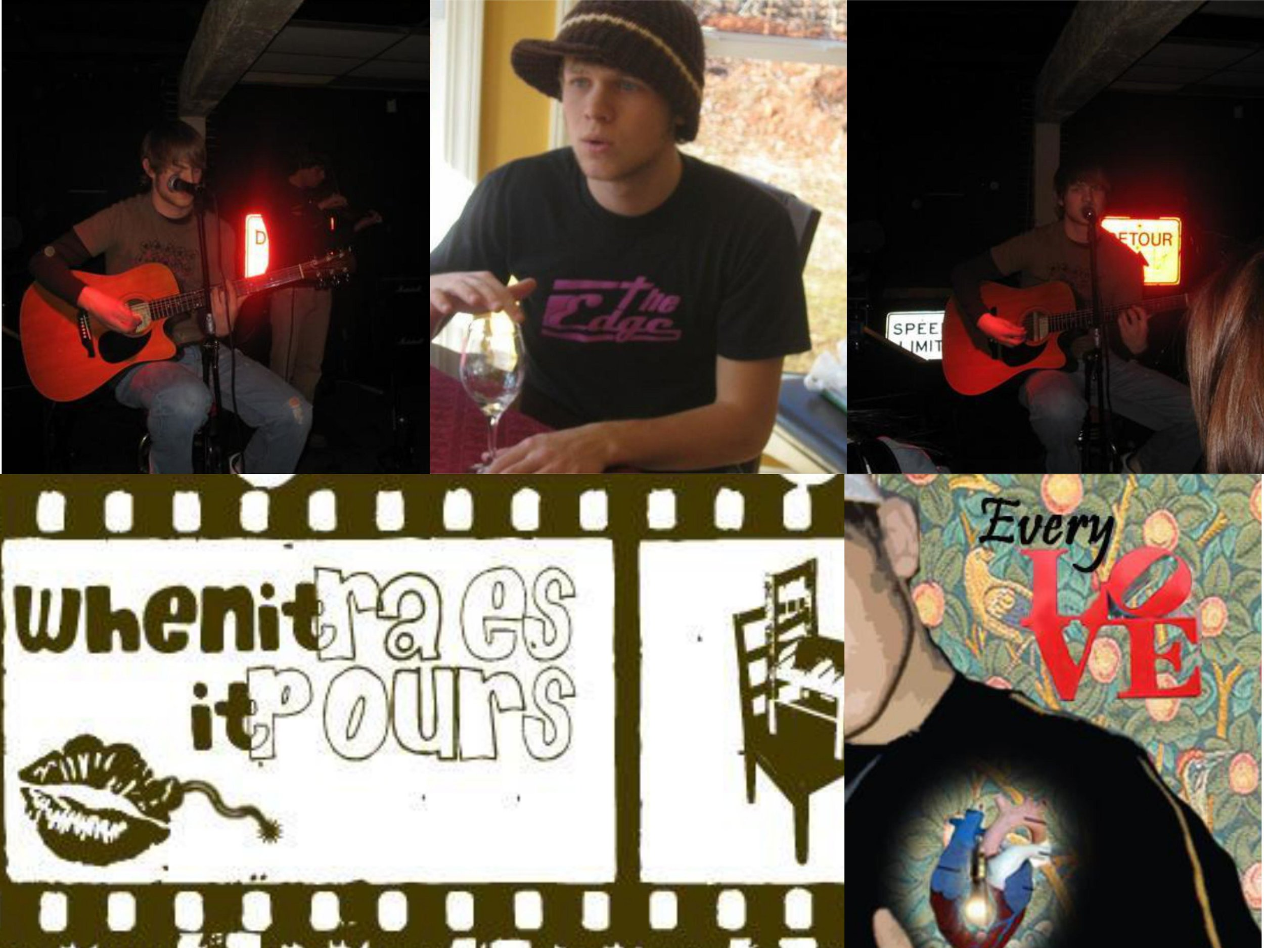 Cringe Collage of live shots, being an idiot, and weird promo material.