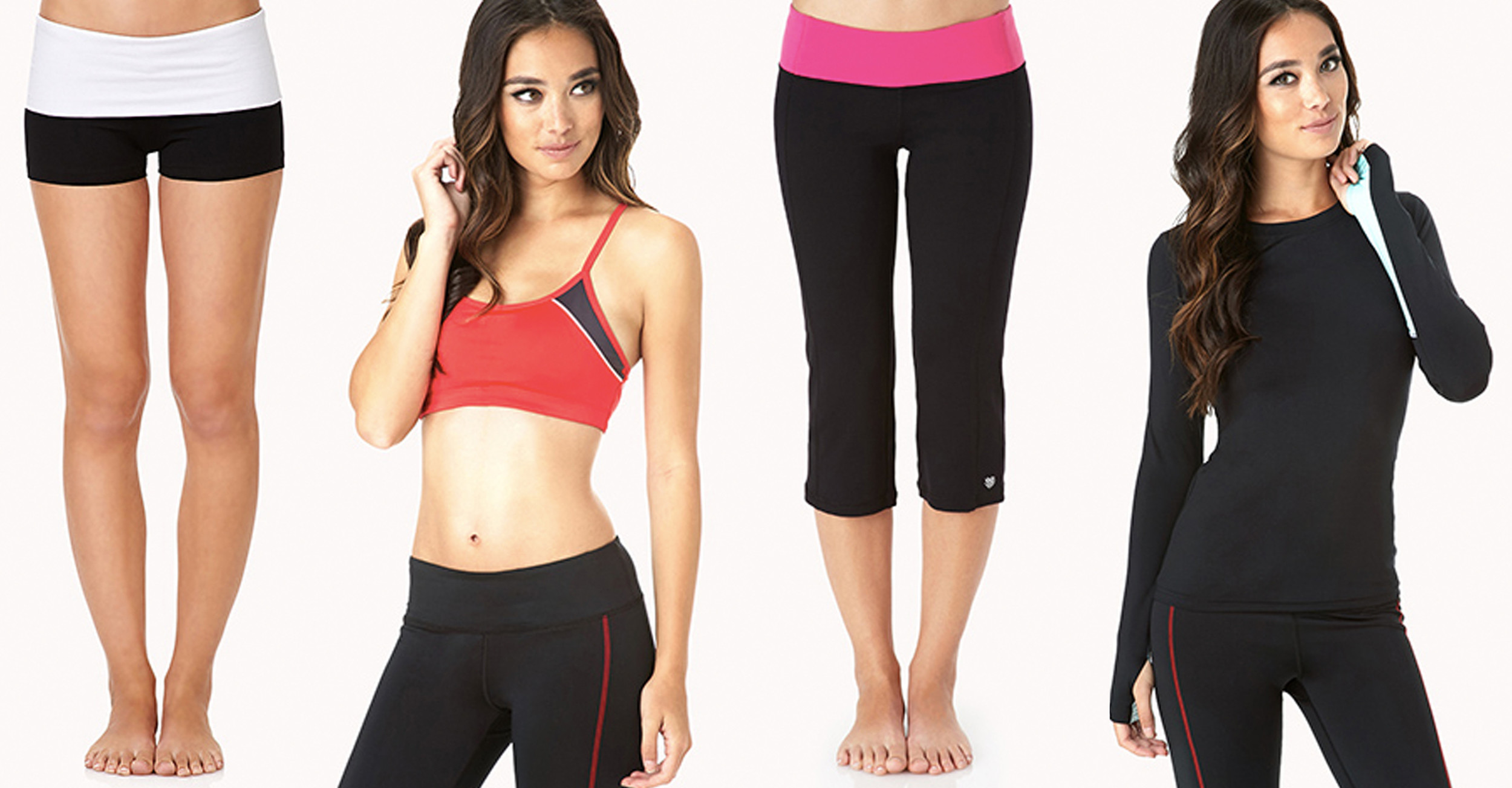 forever21. Colorblocked Running Top, $17; Low Impact Sports Bra, $13; Contrast Foldover Yoga Shorts, $6; Cinched Workout Capris, $17