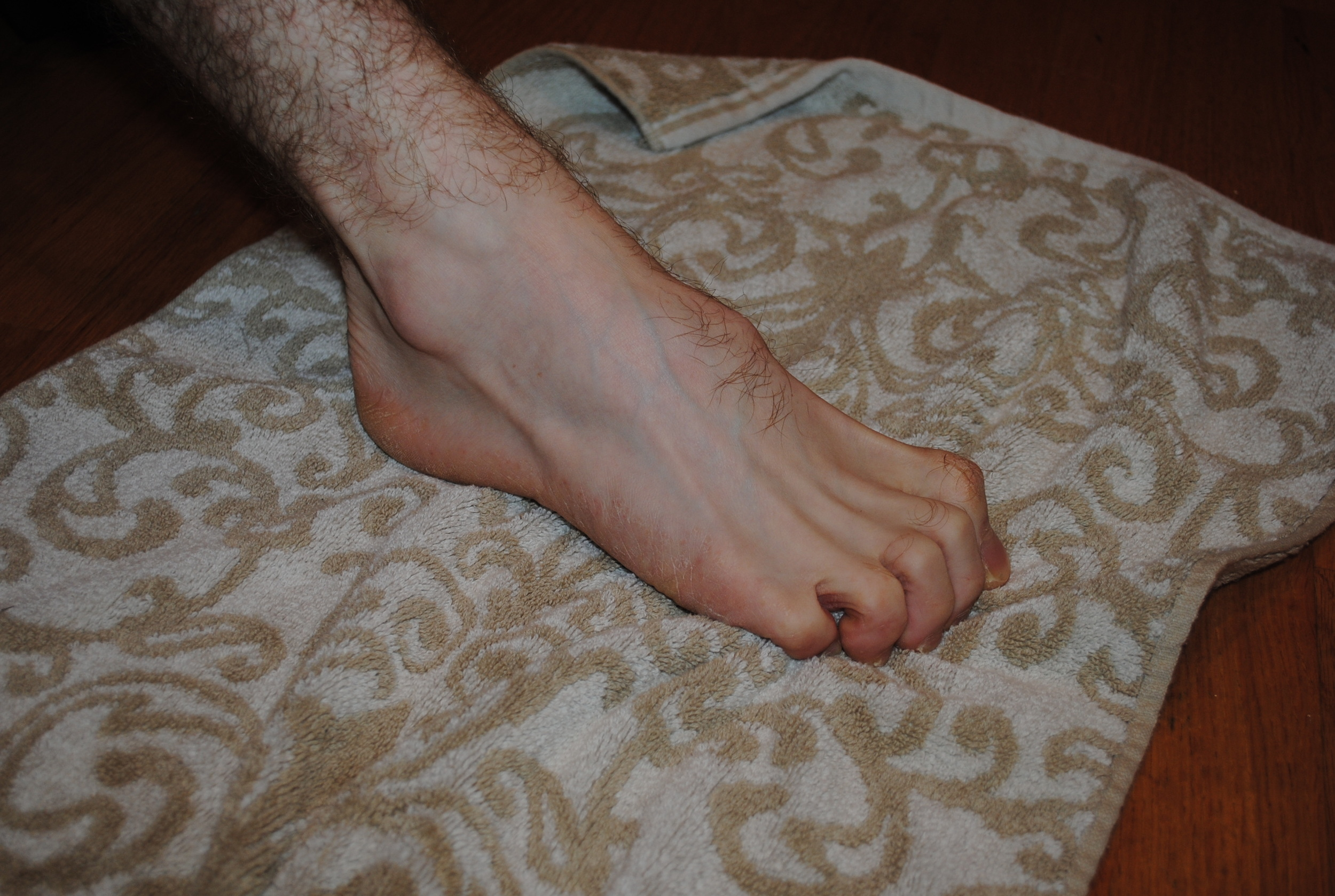 Curl you toes and grab on to a towel.