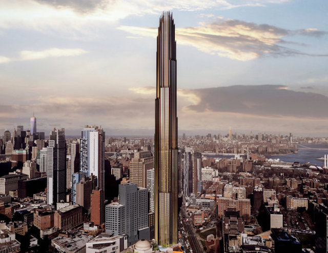 A rendering of Downtown Brooklyn's  forthcoming 1,000-foot skyscraper , surrounded by other high-rises in the neighborhood. (SHoP Architects)