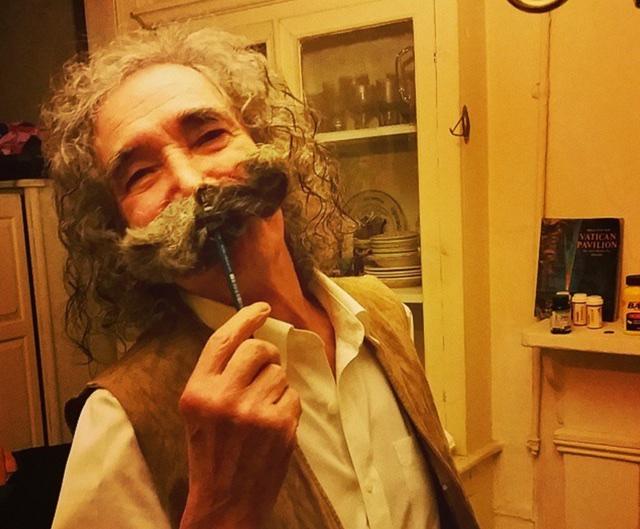 Balzano at home with mustache on his 80th birthday. (John Del Signore)