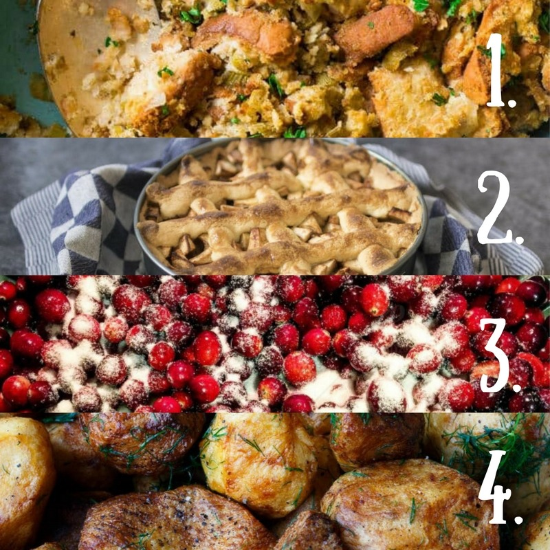 "Thanksgiving has some of the best holiday food around! Which is your favorite Thanksgiving food ""must have""?  1. Stuffing  2. Pie  3. Cranberry Sauce  4. Potatoes"