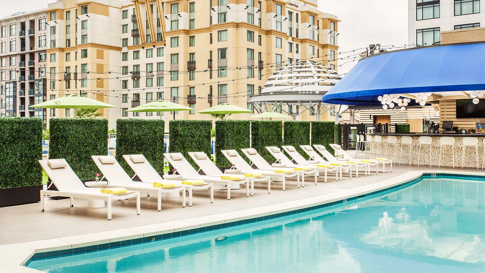 Amenities - The hotel features a pool, Complimentary WiFi, a Wine Happy Hour from 5 - 6PM + a Coffee/Tea in mornings!