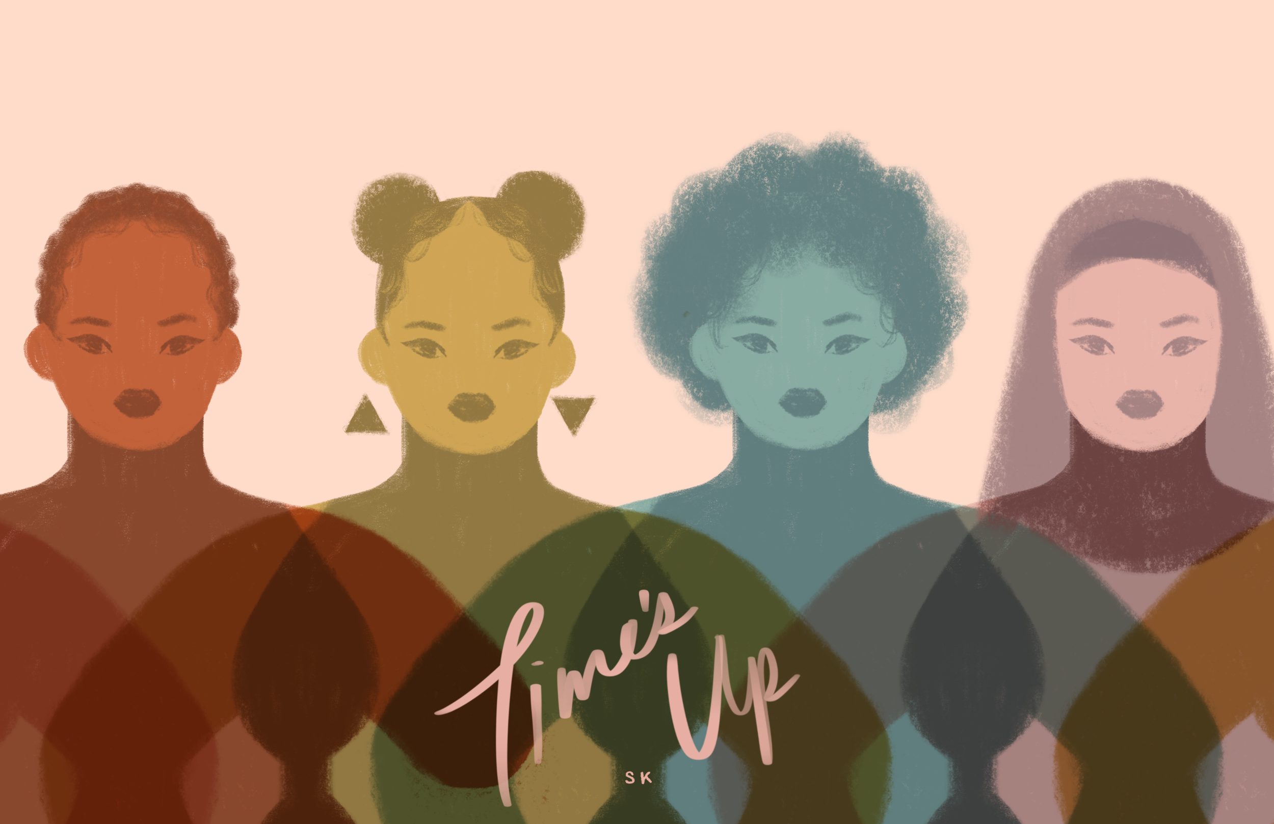 """""""Intersectionality has always been a huge driving force behind my feminism, so I was immediately drawn to it as a concept. I wanted to visually represent the spectrum of womxnhood and how these identities can intersect. I believe no womxn comes in one form.    Seeing the rise of TIME'S UP and the work they've been doing to give a voice to the underrepresented and demand change has been the biggest inspiration for this piece."""""""