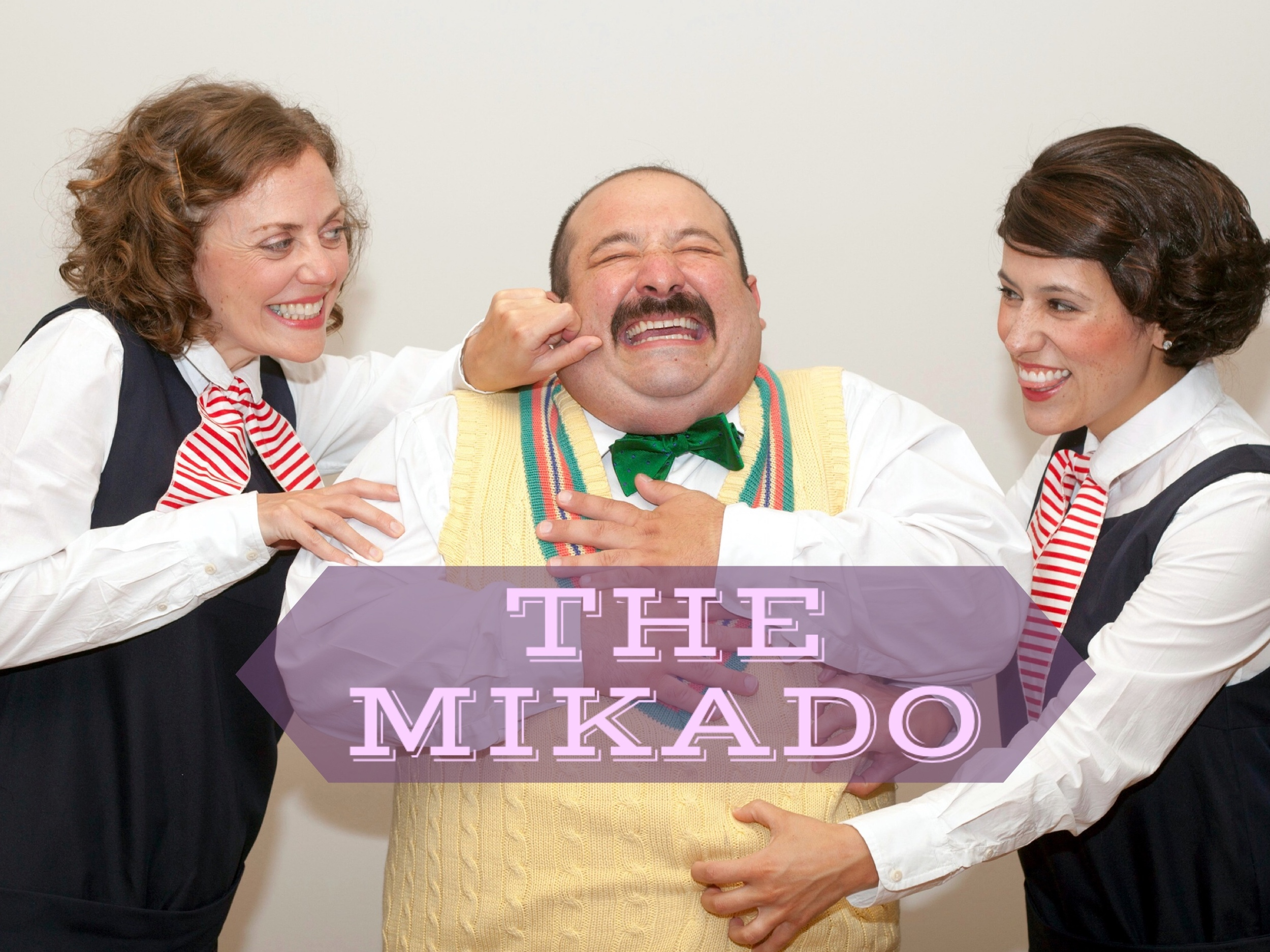Elise LaBarge [L] as Pitti-Sing, Andy Papas as Ko–Ko, and Gina Malone as Peep-Bo in Union Avenue Opera's production of The Mikado [John Lamb, photo]