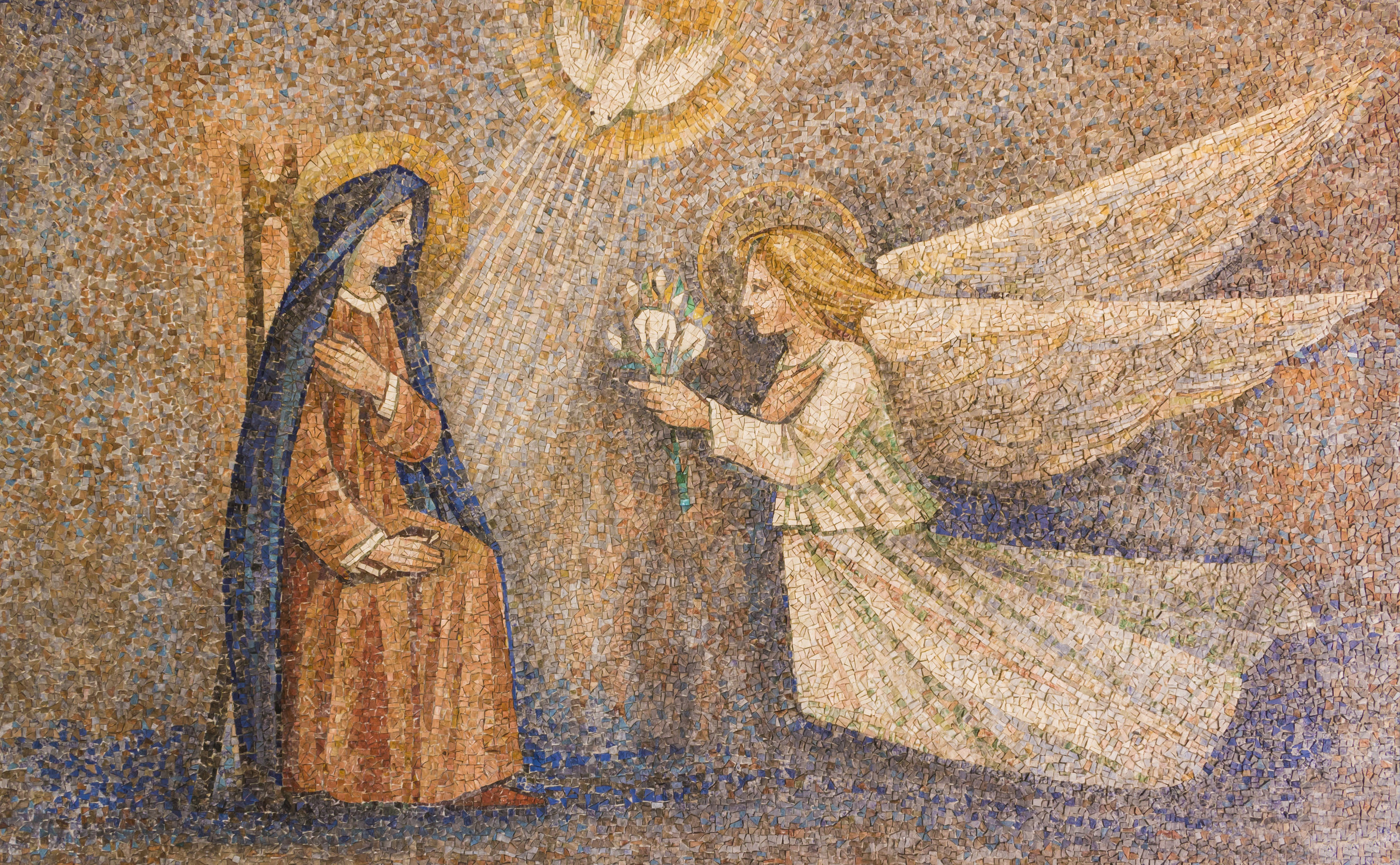 Annunciation of the Virgin [mosaic] –Sanctuary of Caravaggio, Italy [photo by Macthia]