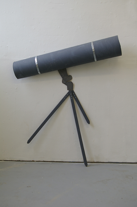 """Telescope , 2009 Silverpointed and painted cardboard and wood; 49 x 8 x 60"""""""