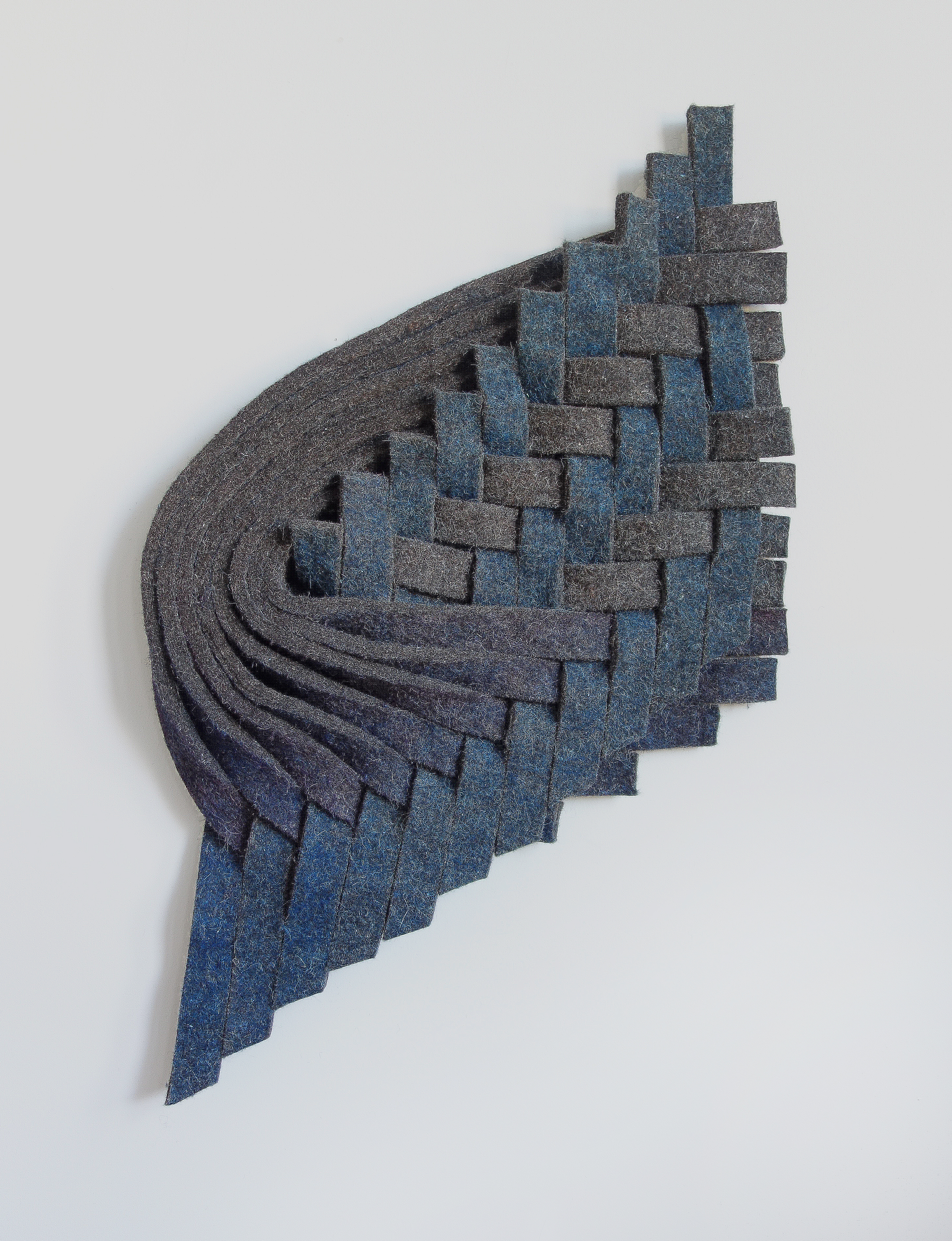 Blue, Violet, Grey , 2015 Felt, wax ; 34 x 22 x 3""