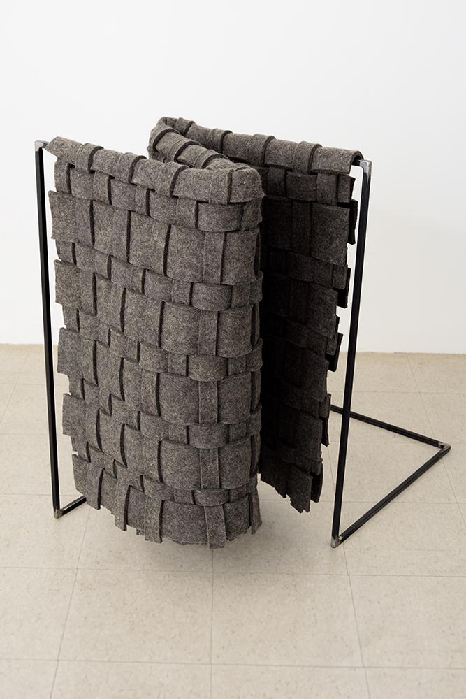 "Standing Fold , 2016 Felt, Steel, Glue; 37 x 37 x 21"""