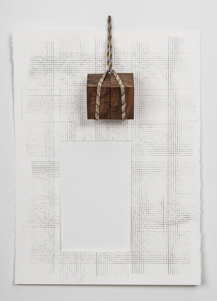 """Gravity Drawing (#1), 2016 Grpahite on paper, walnut, embroidery floss, nail; 22 x 32"""""""