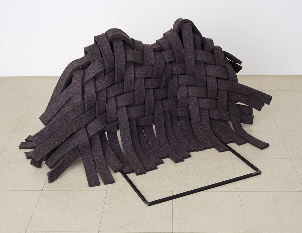 Draped Twill, 2016 Felt, steel, glue; 26 x 36 x 30""
