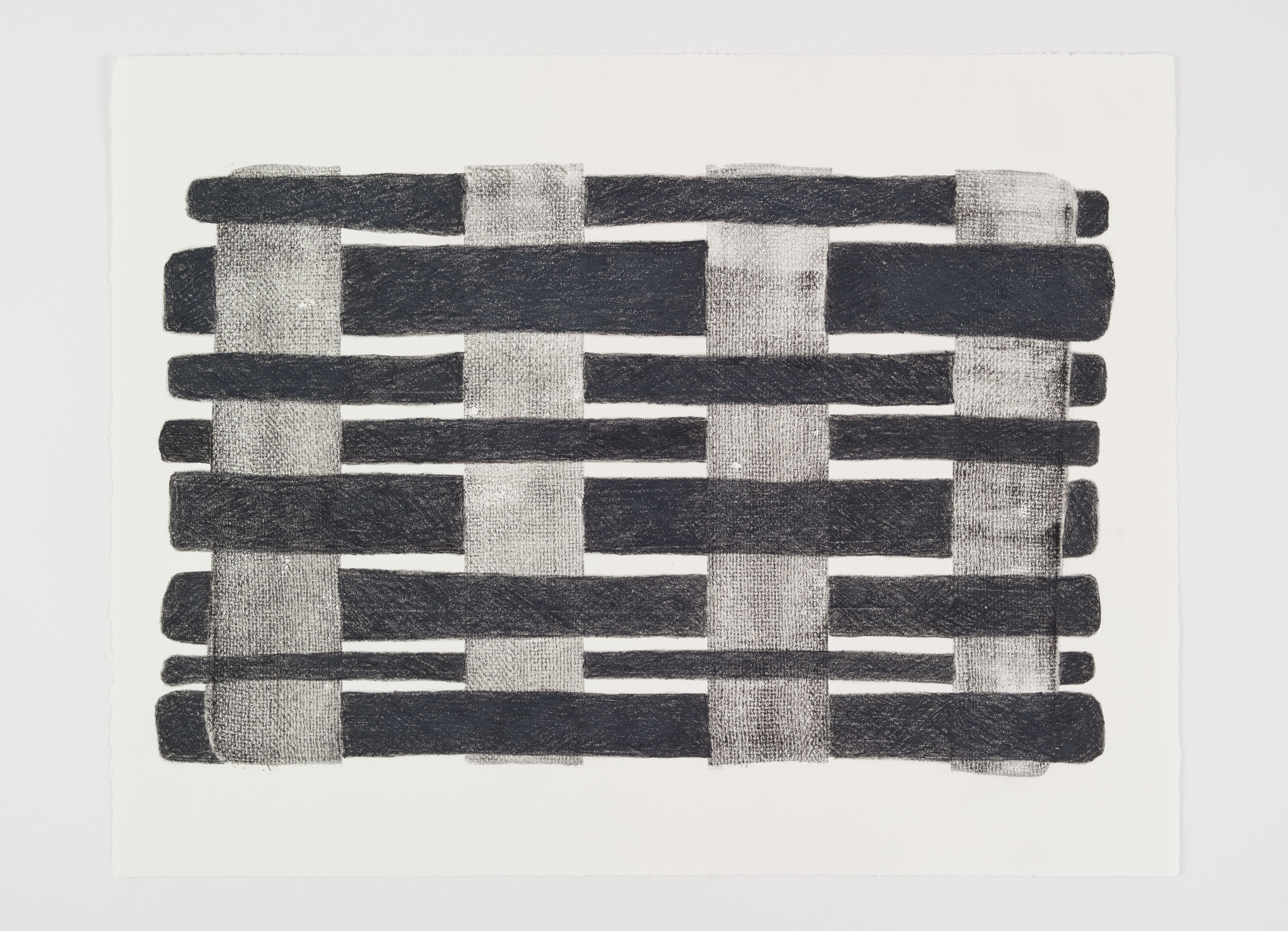 """Printed Weave #2 , 2017 Acrylic and wax crayon on paper; 19 x 25"""""""