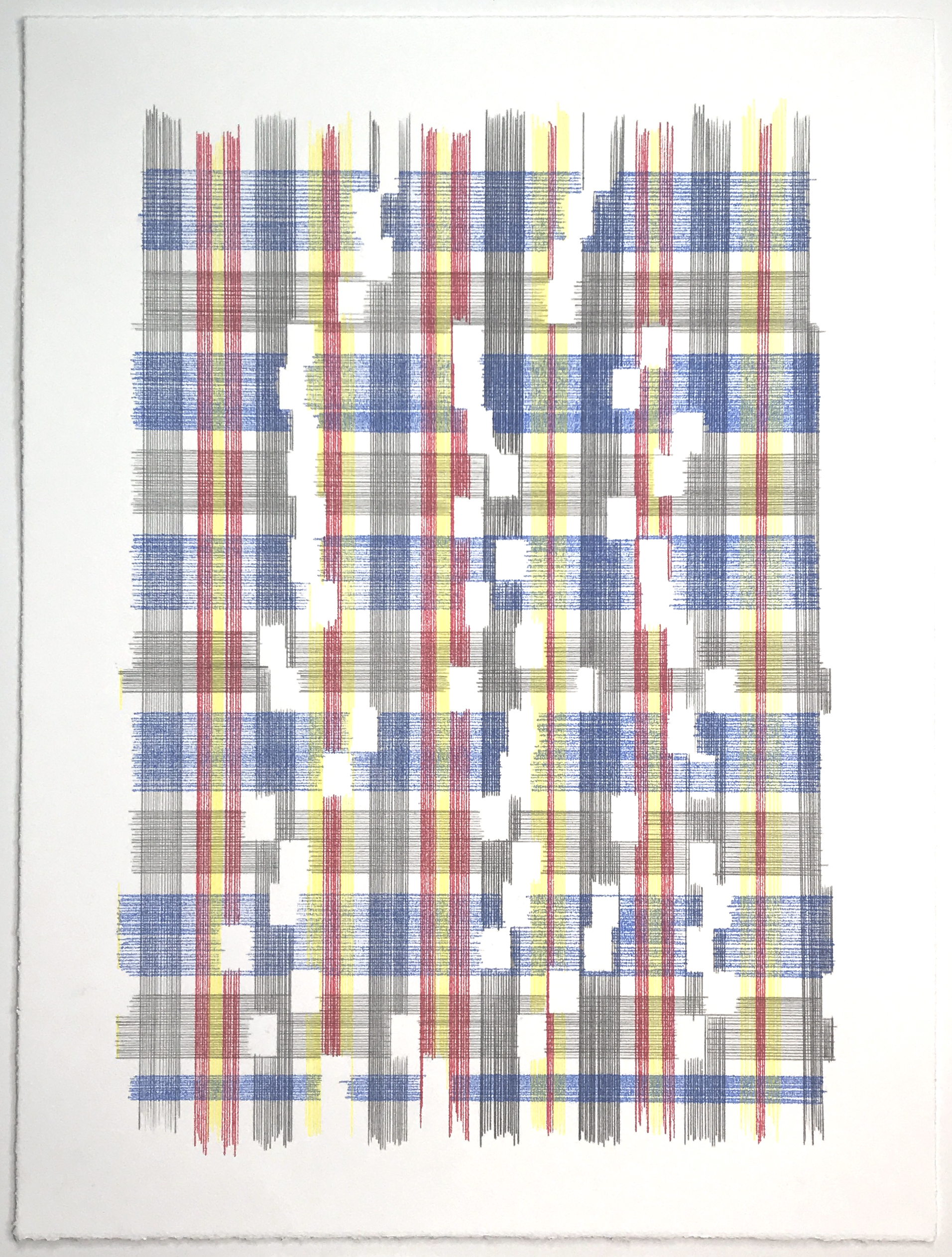Evidence Of Supersymmetry (Plaid), 2018 Transfer pigment on paper; 15 x 20 inches