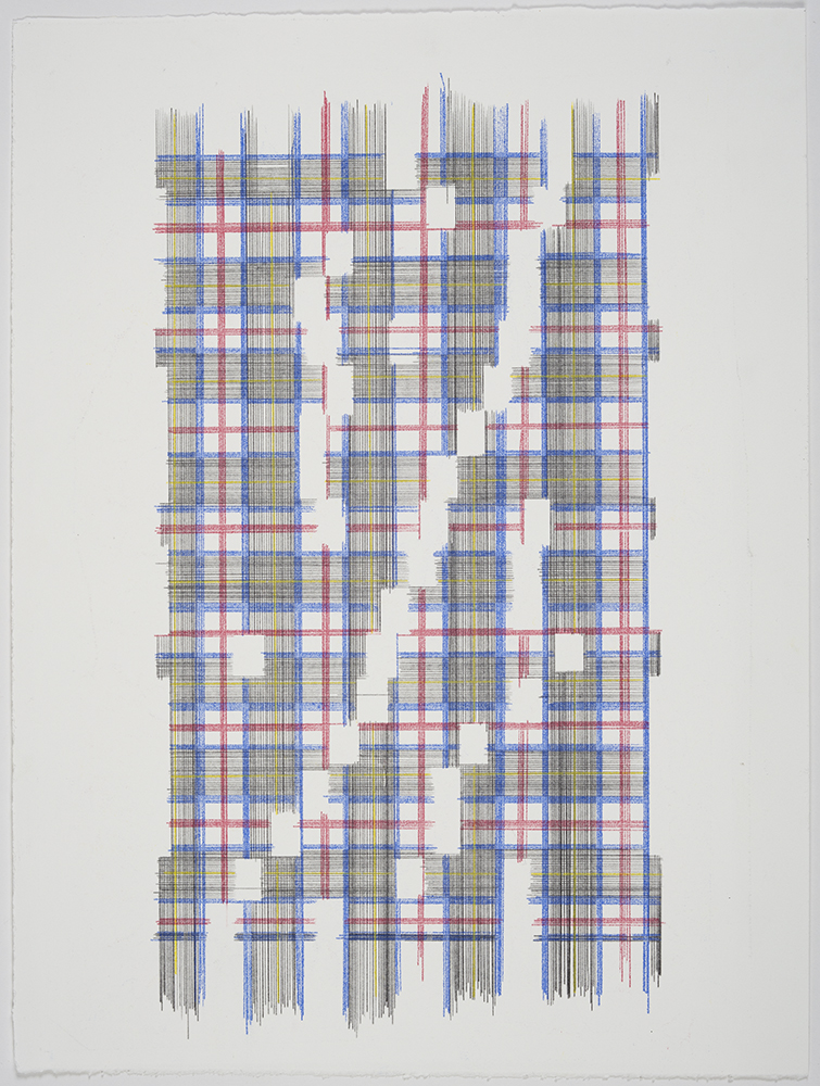 Up The Energy Scale (Plaid) , 2018 Transfer Pigment on Paper; 15 x 20 inches
