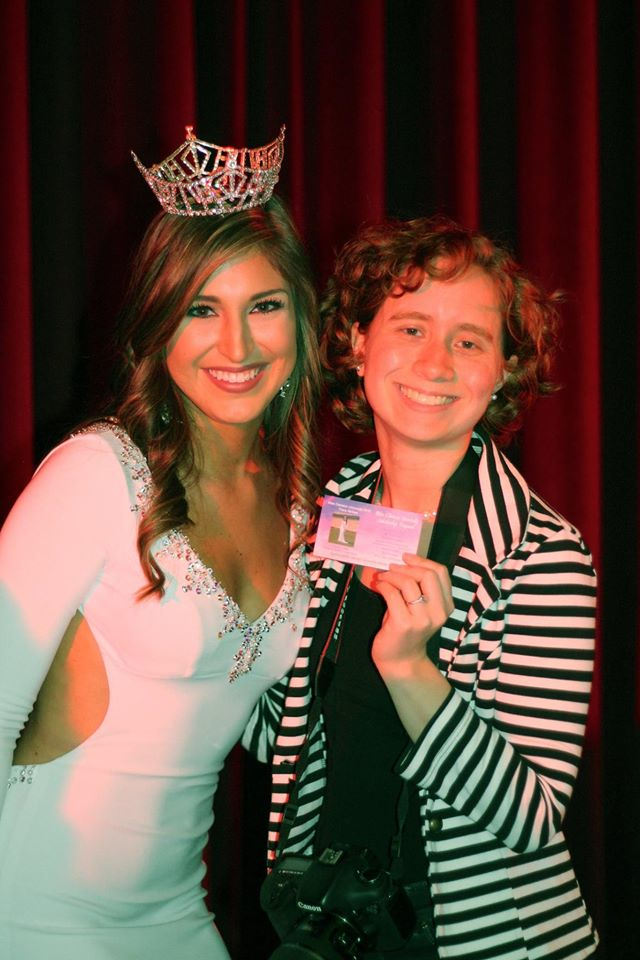 Tracy and I with the ticket that has my photo of her.