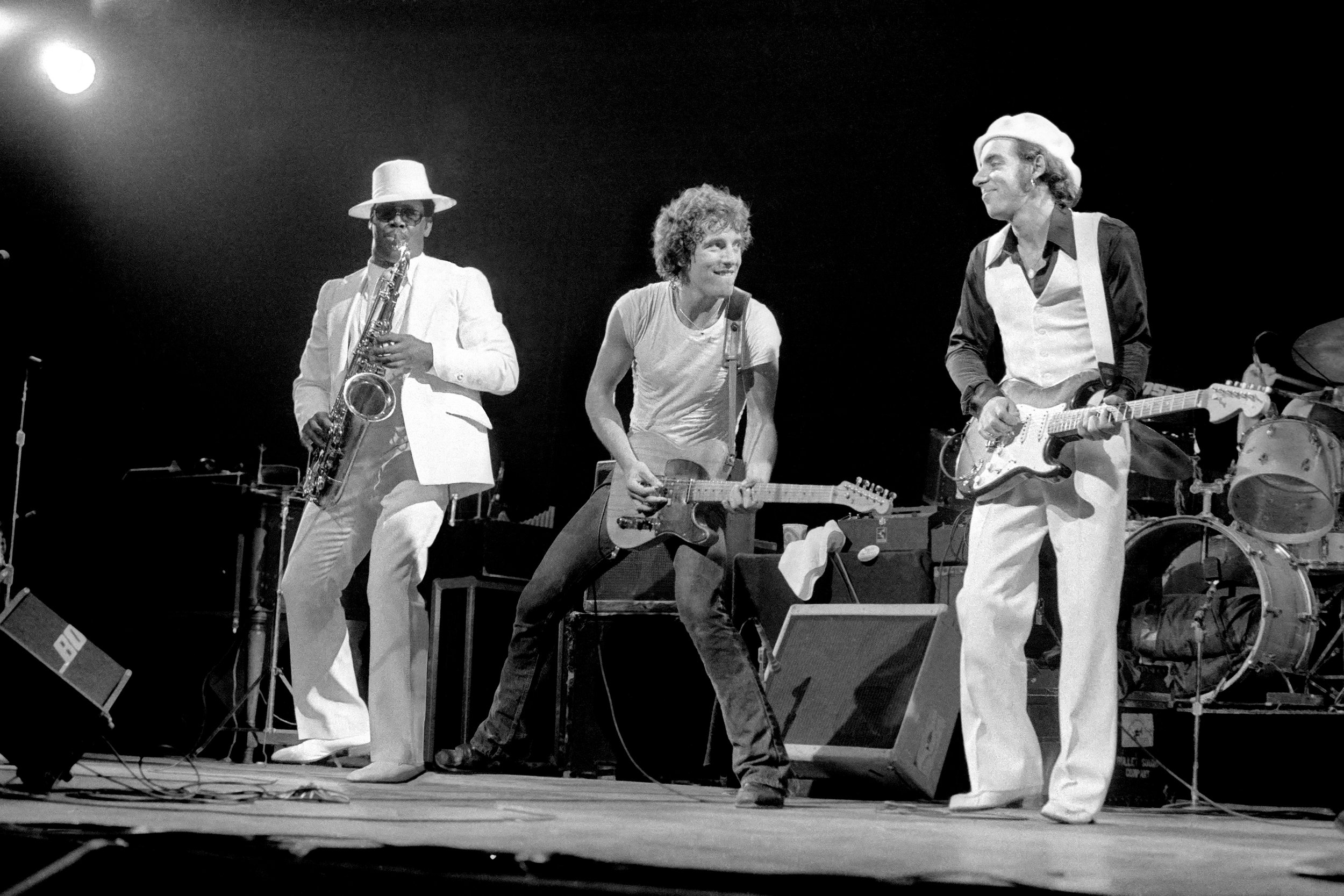 Bruce Springsteen and Clarence Clemons live on stage September 13, 1976.