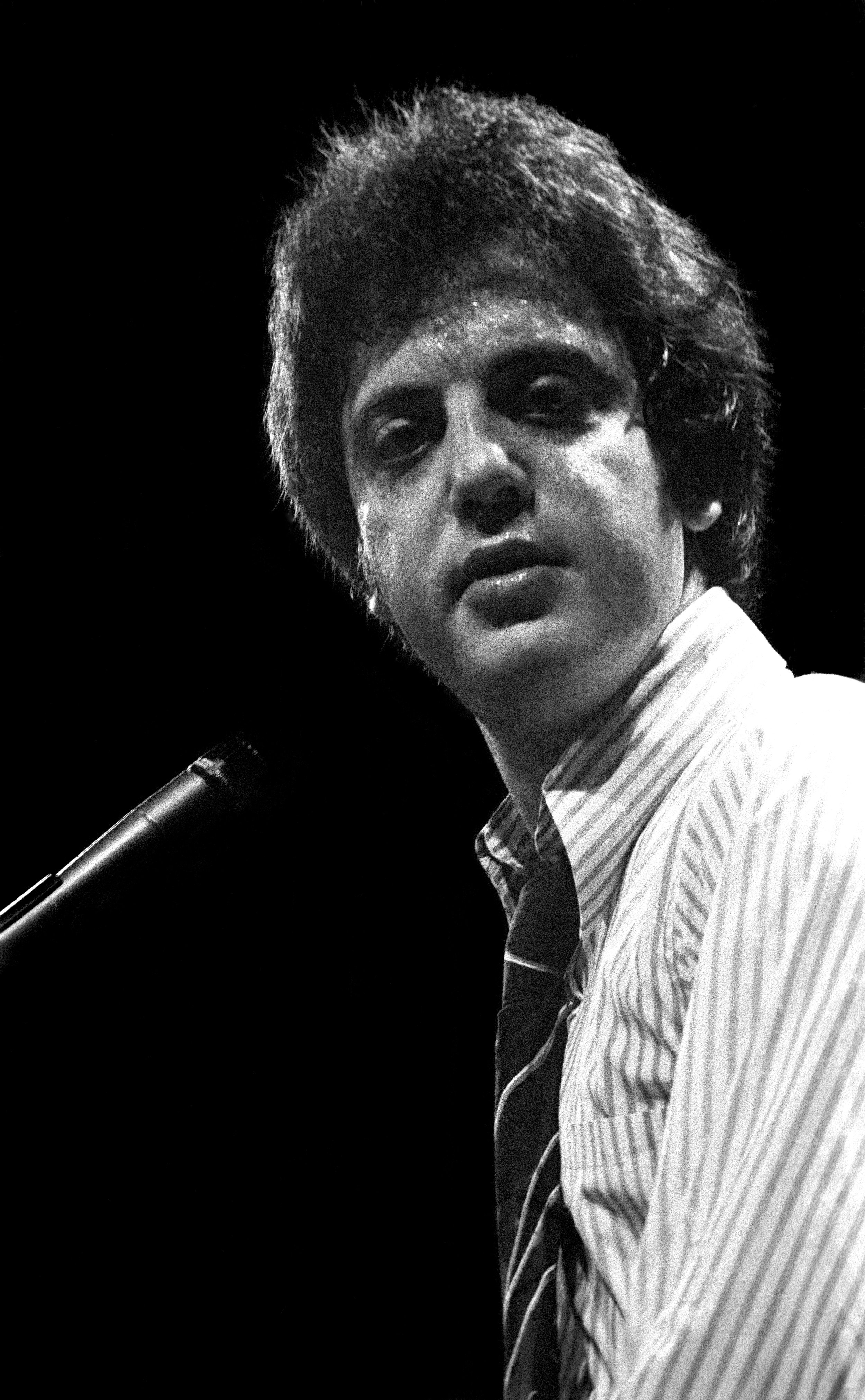 Musician Billy Joel playing piano live in concert on May 5,1976 in Union, New Jersey.