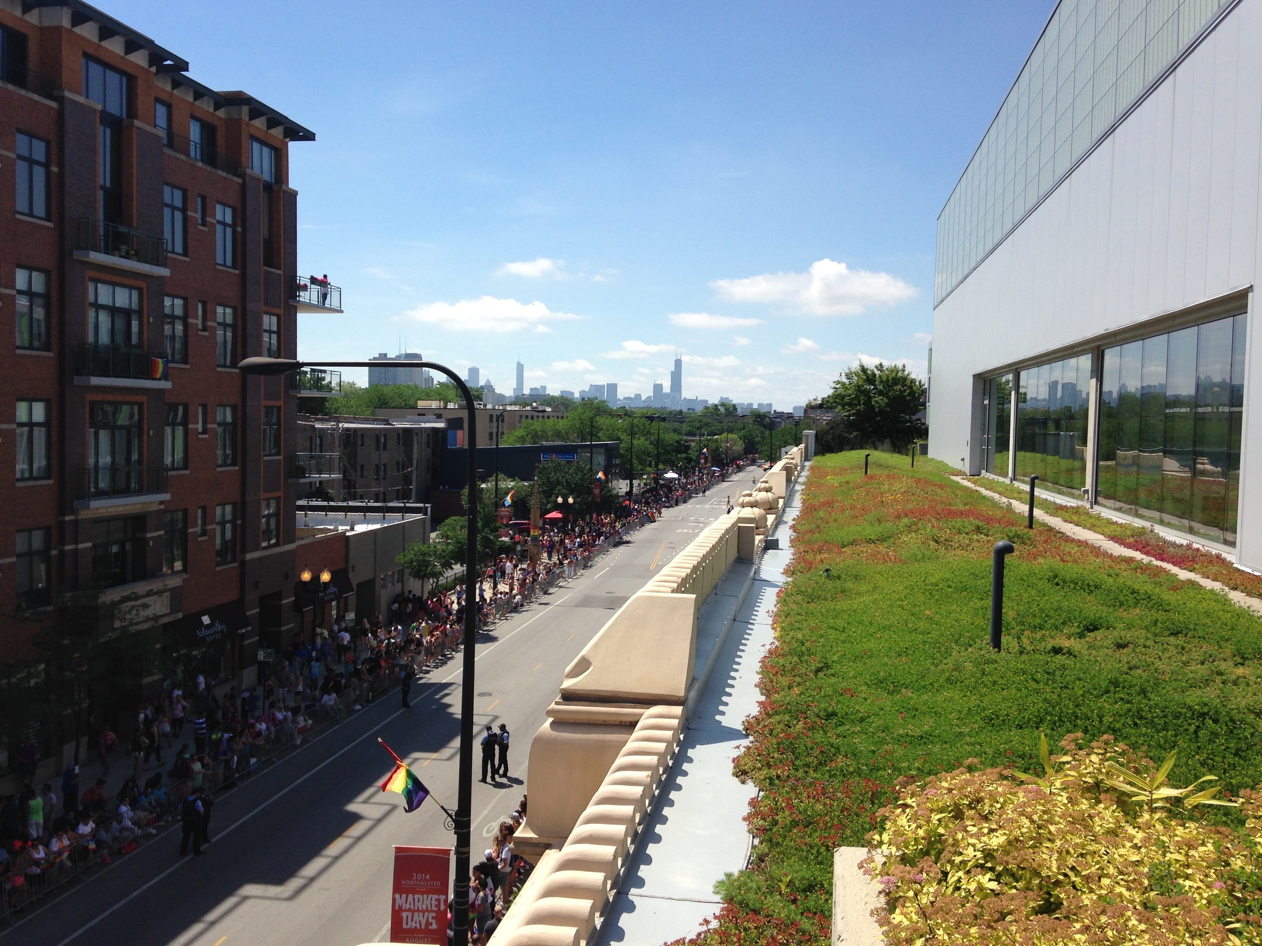 Rooftop Garden and balcony, perfect for watching the life on the street and neighborhood events.  Below:Viewing the Pride Parade from the roof deck.