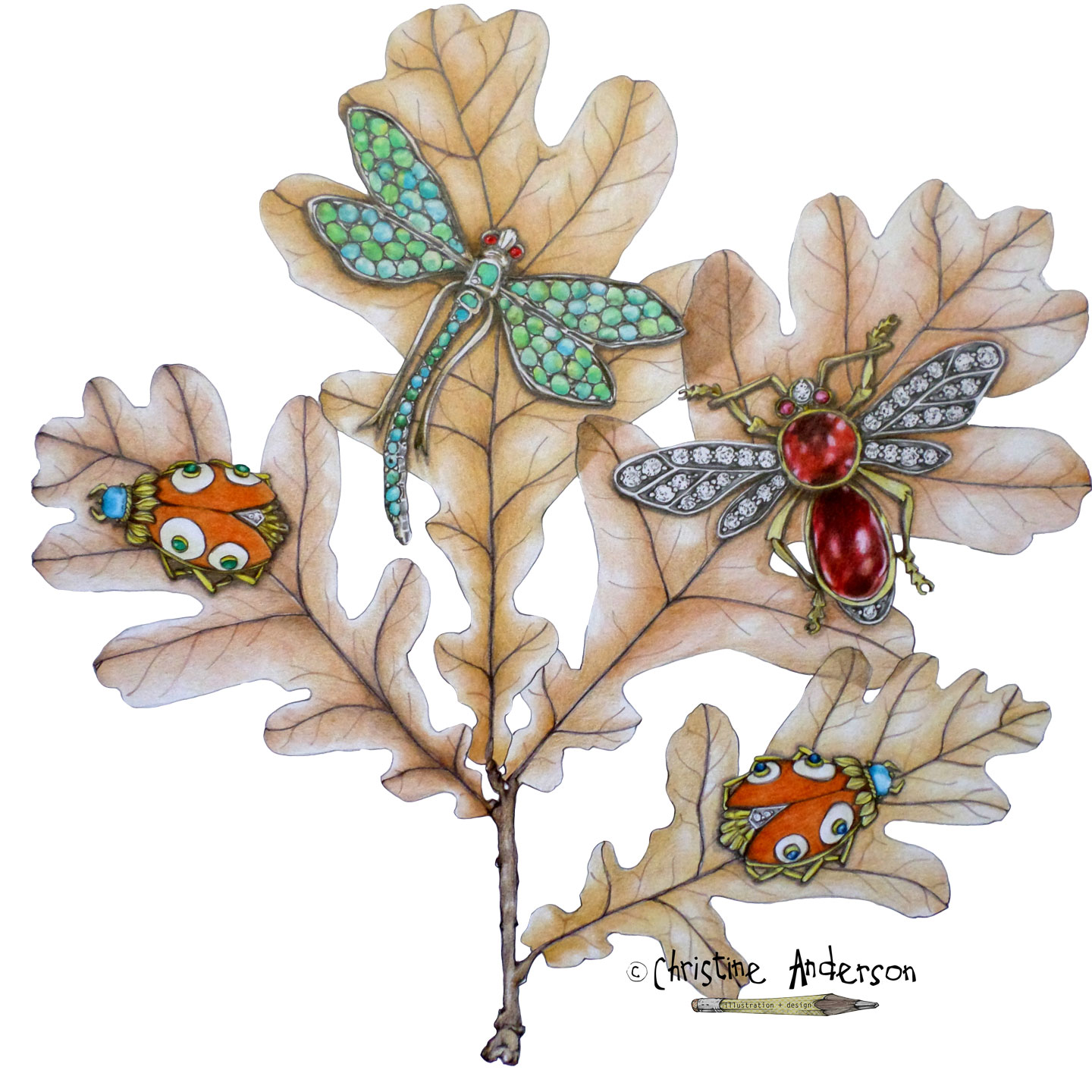 Color pencil rendering of some vintage brooches on some fall leaves