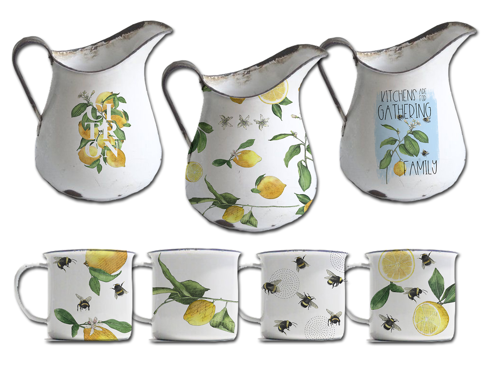 CA Lemon and bees enamel pitcher and mugs.jpg