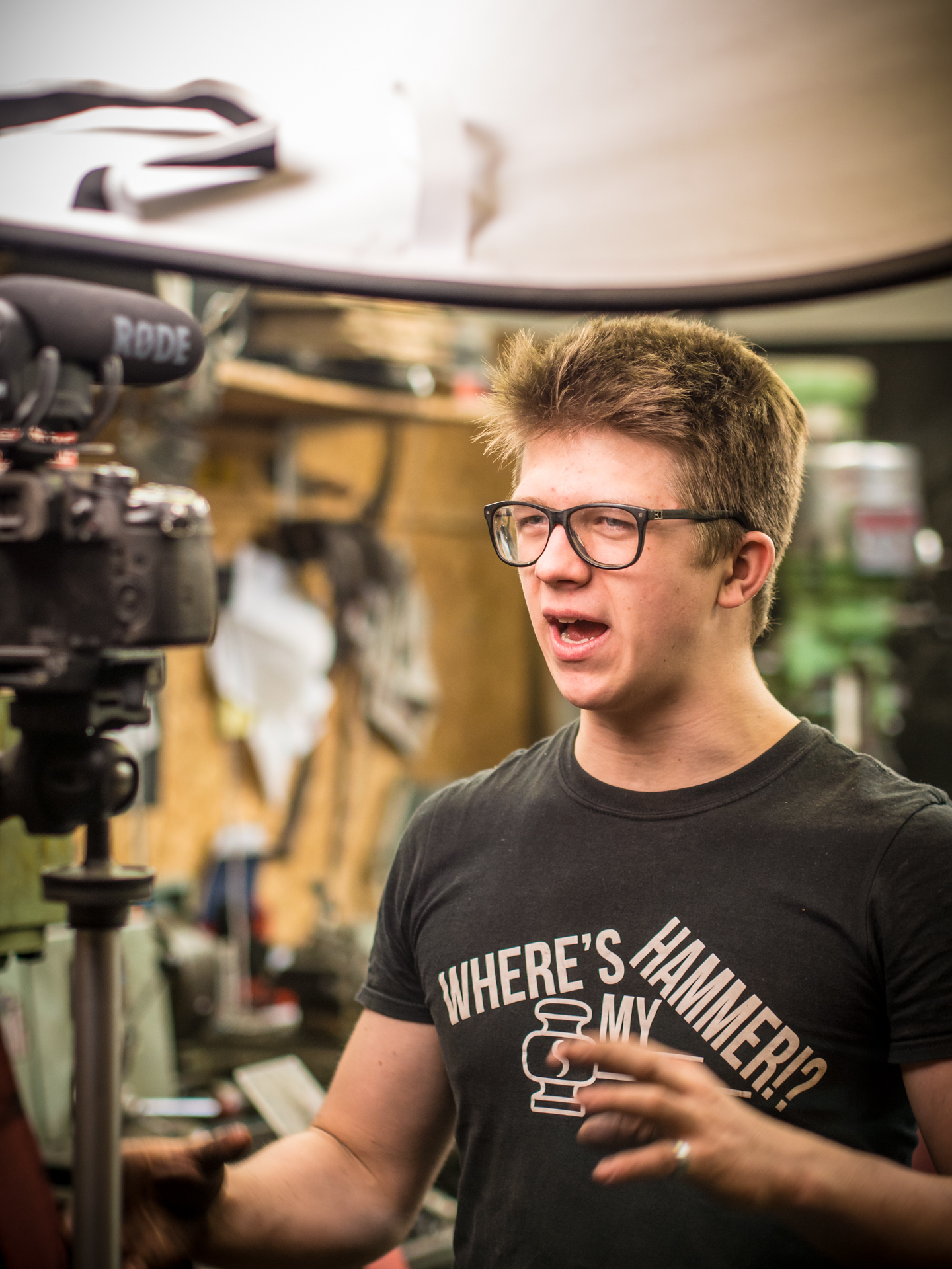 Alec Steele talking to camera blacksmith
