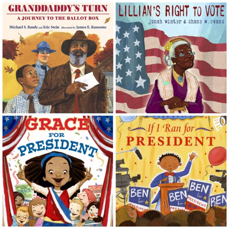 - If I Ran for President: by Catherine StierGrace for President: by Kelly DiPucchioGranddaddy's Turn: A Journey to the Ballot Box: by Michael BandyLillian's Right to Vote: by Jonah WinterVote!: by Eileen CristelowBecause They Marched: by Russell Freedman