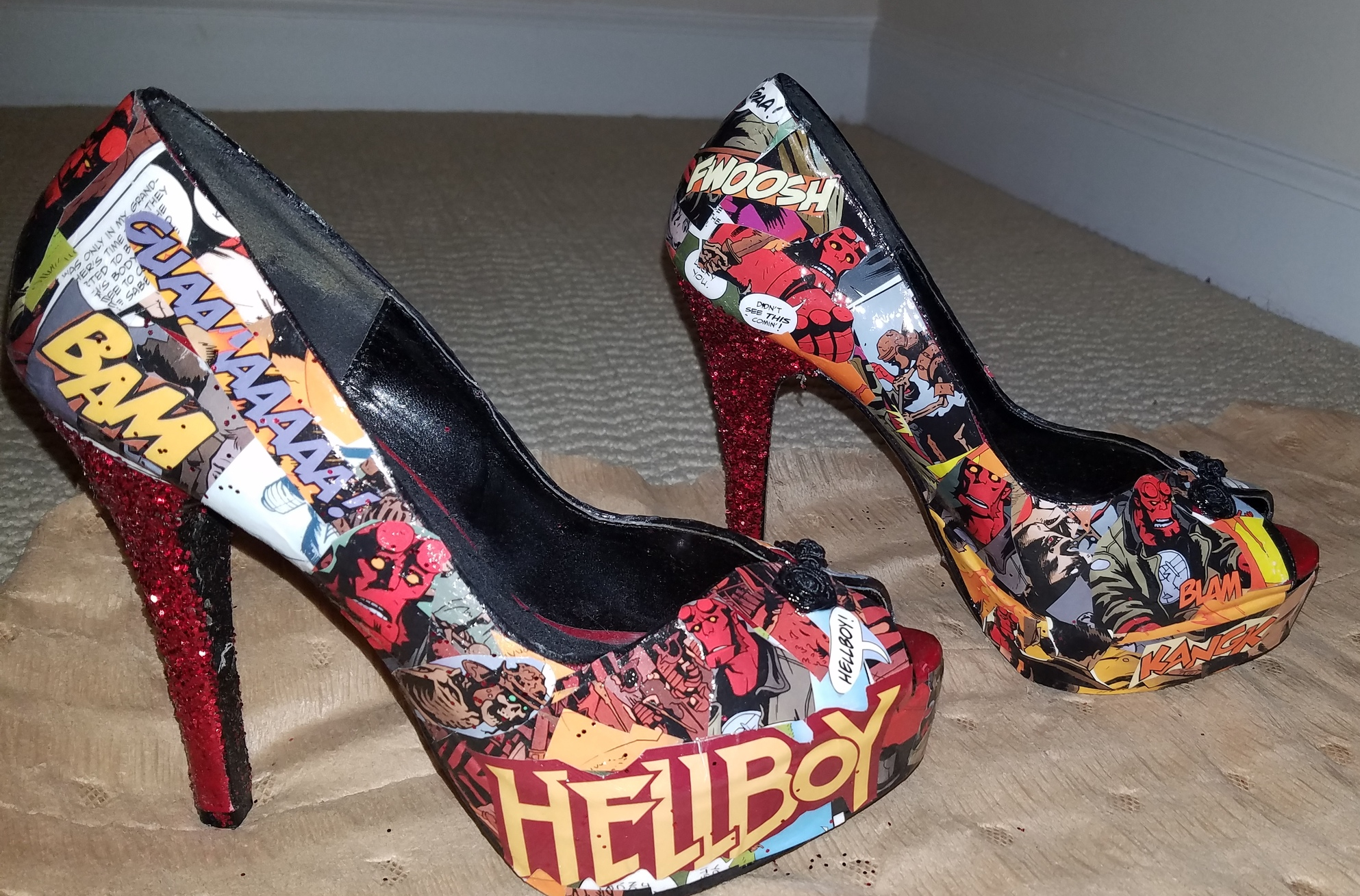 Decoupage by Chantel  sent me these gorgeous shoes. I LOVE me some Hellboy!