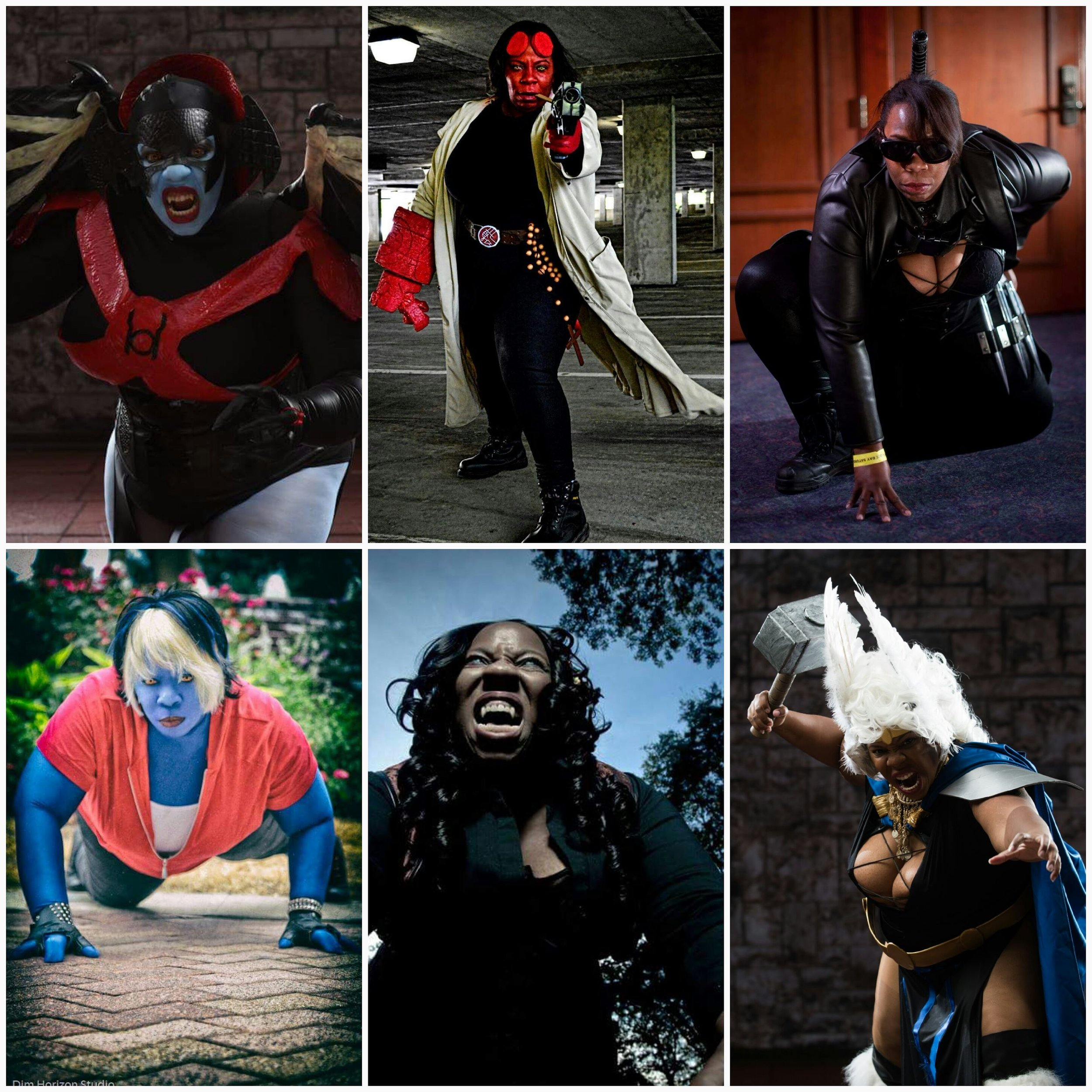 DC's Bleez, Marvel's Blade, and Asgardian Storm photographed by Bryan Humphrey. Hellboy photographed by Girls of the Con. Nocturne photographed by Dim Horizon Studios, and Vampire photographed by Dru Phillips.