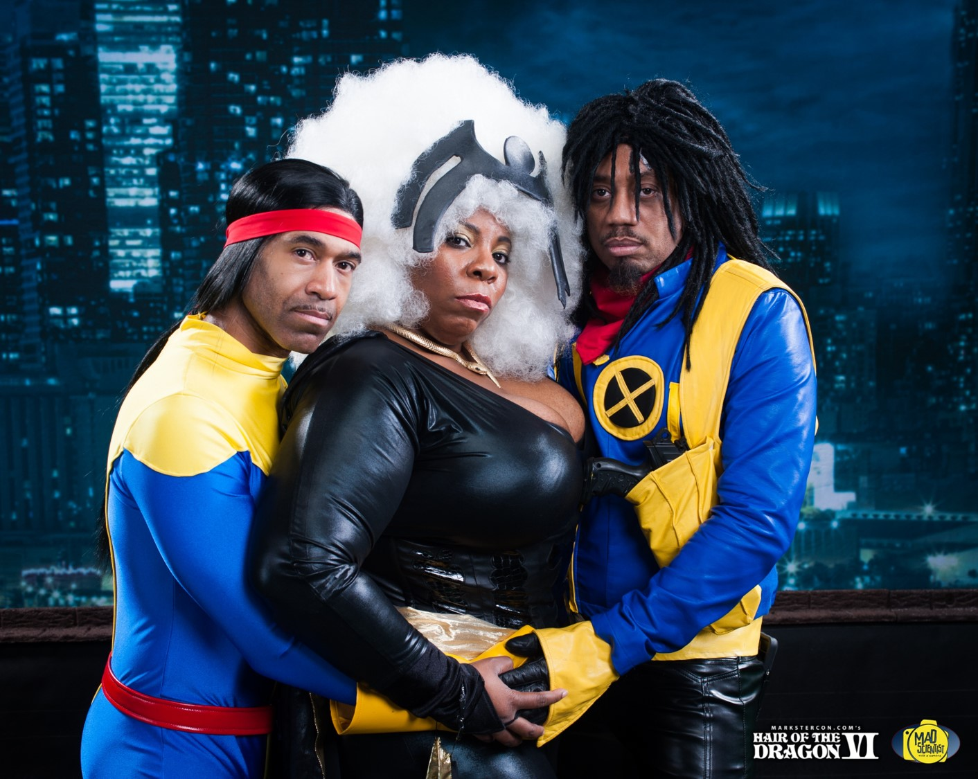 Forge, Storm, and Bishop.  Forge cosplay by  Dean's Lyst   .Bishop cosplay by  Barr Foxx Cosplay