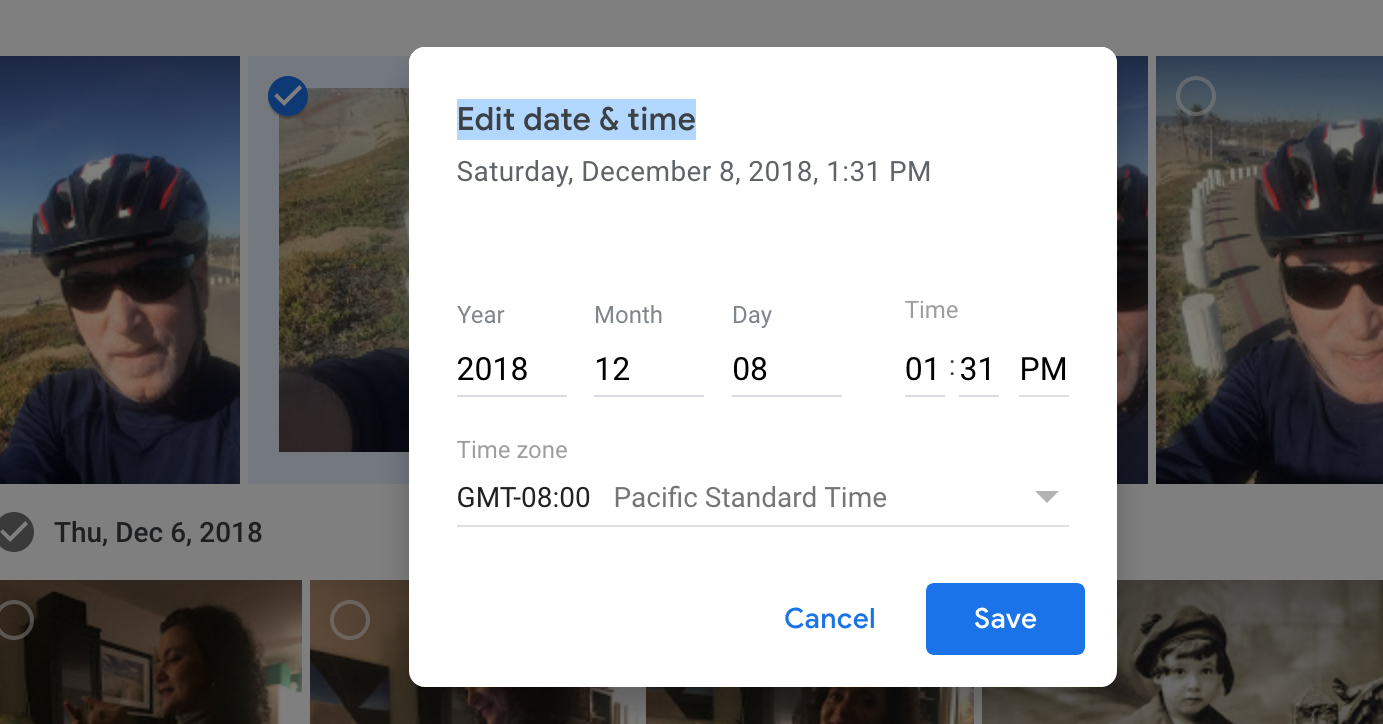 Adjusting dates in Google Photos