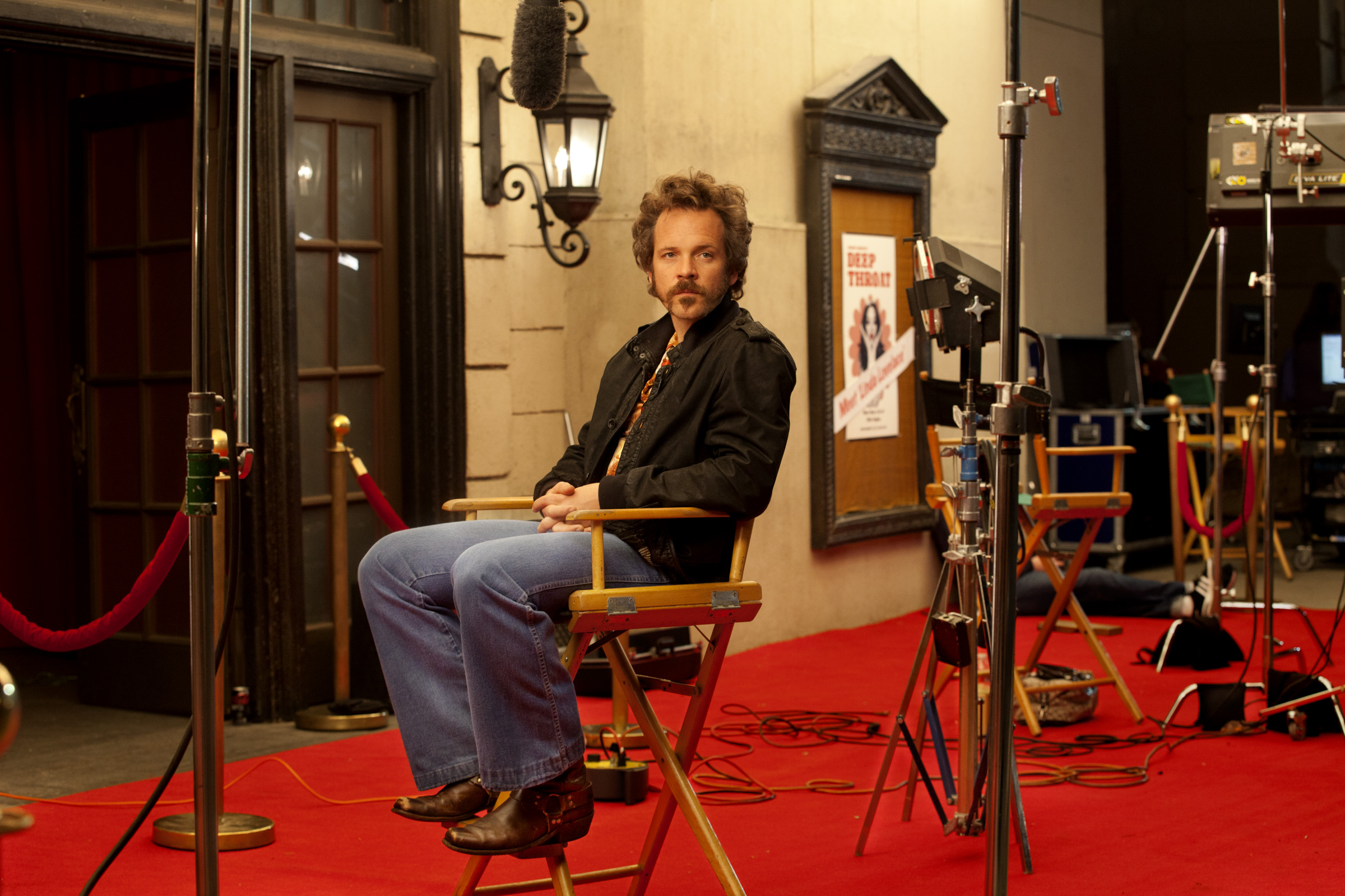 Peter Sarsgaard on the set of Lovelace