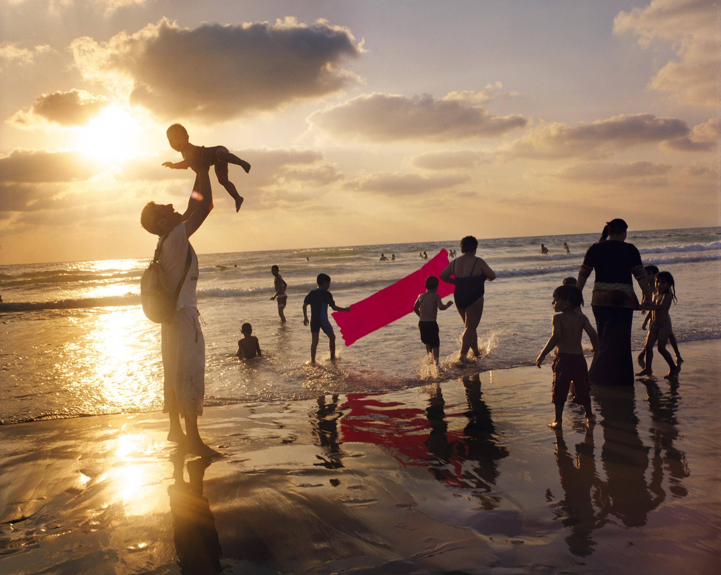 Families on Jaffa Beach, 2009