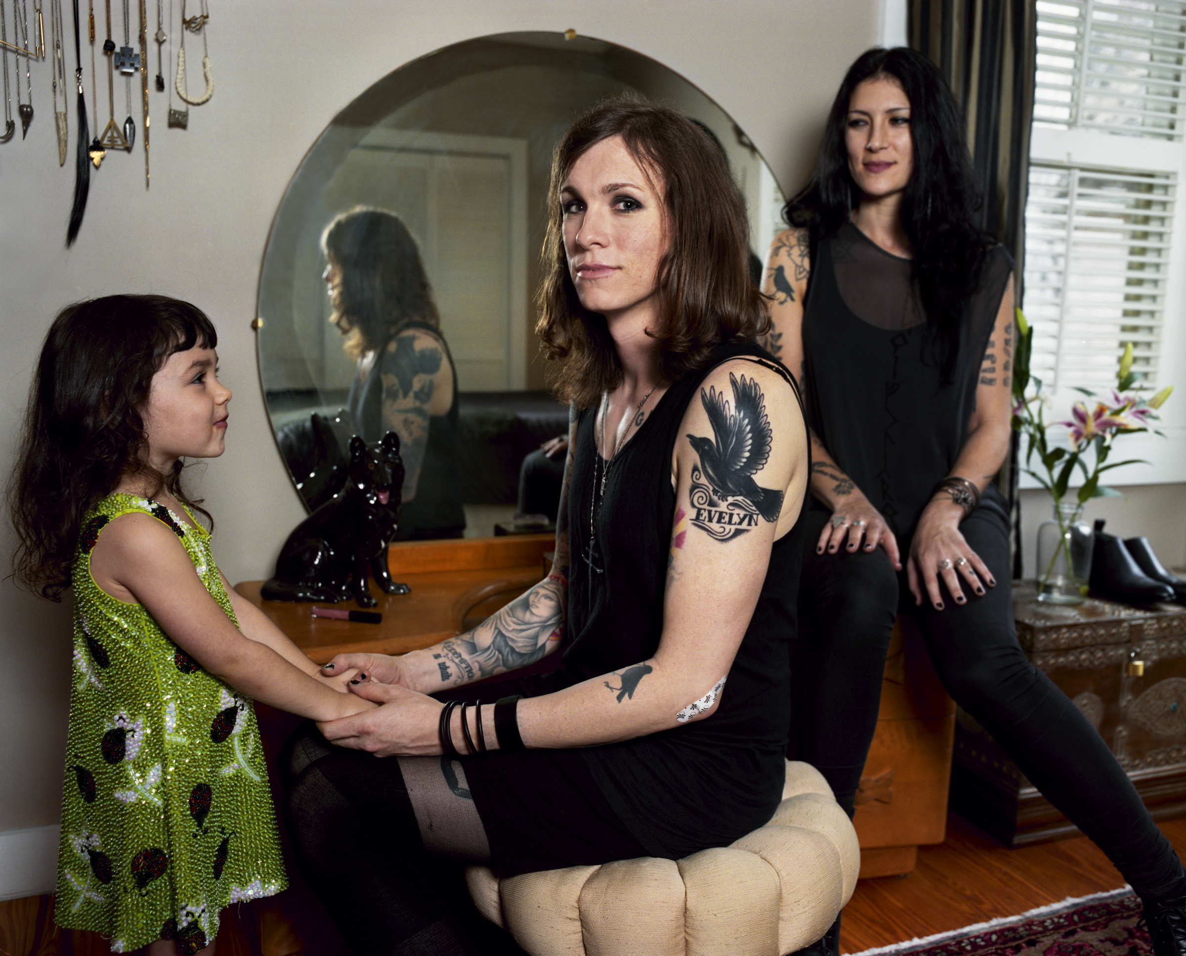 "Laura Jane Grace with her wife and daughter, Florida, 2013   ""We are still the same family we've always been,"" says Heather, Sarah-Jane Grace's wife."