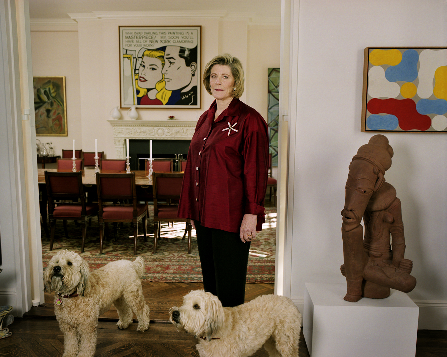 Agnes Gund at home on Park Avenue with her dogs Giotto and Tina