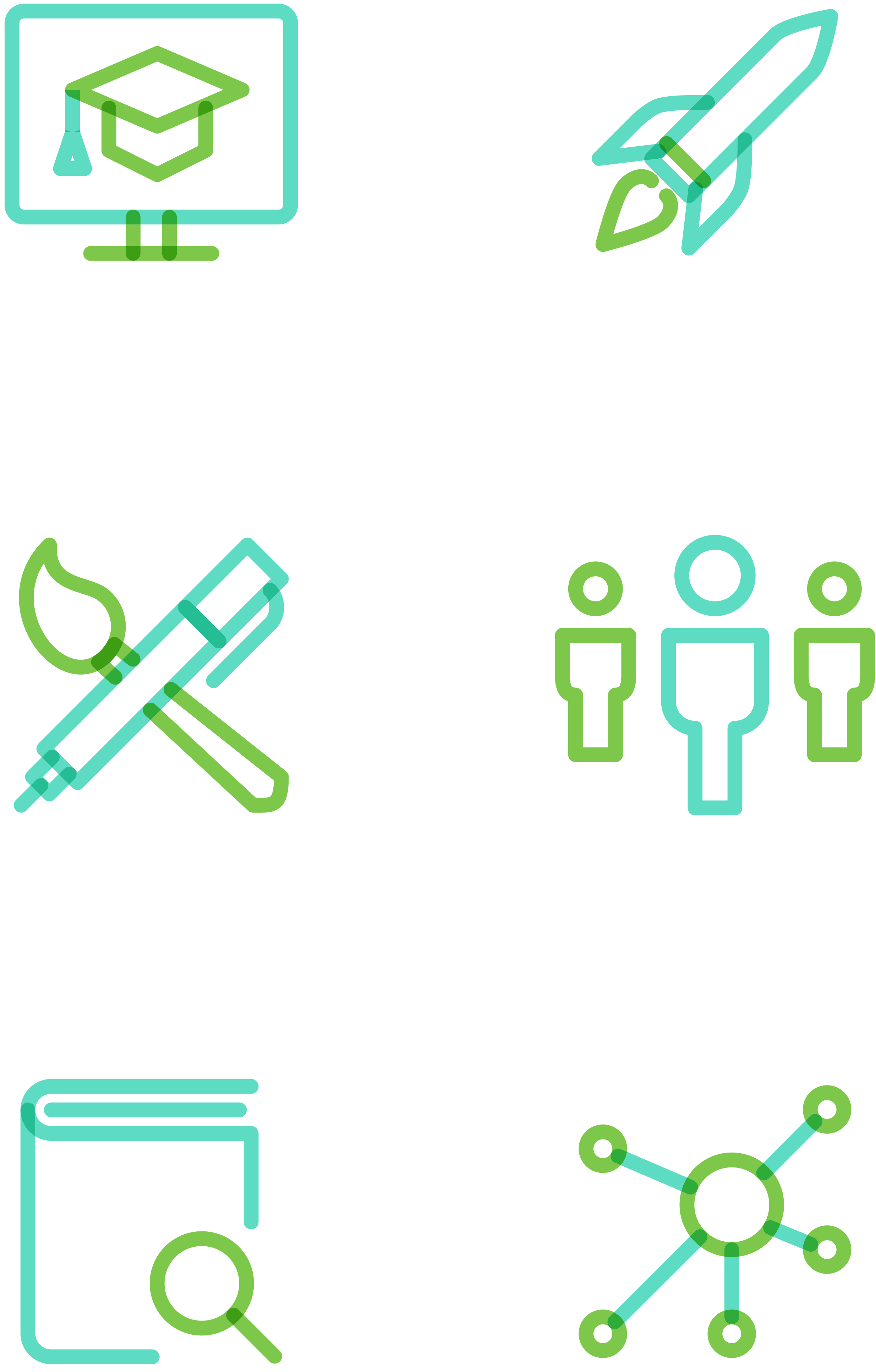 An ownable icon system was created by overlapping green and teal interchangeably.