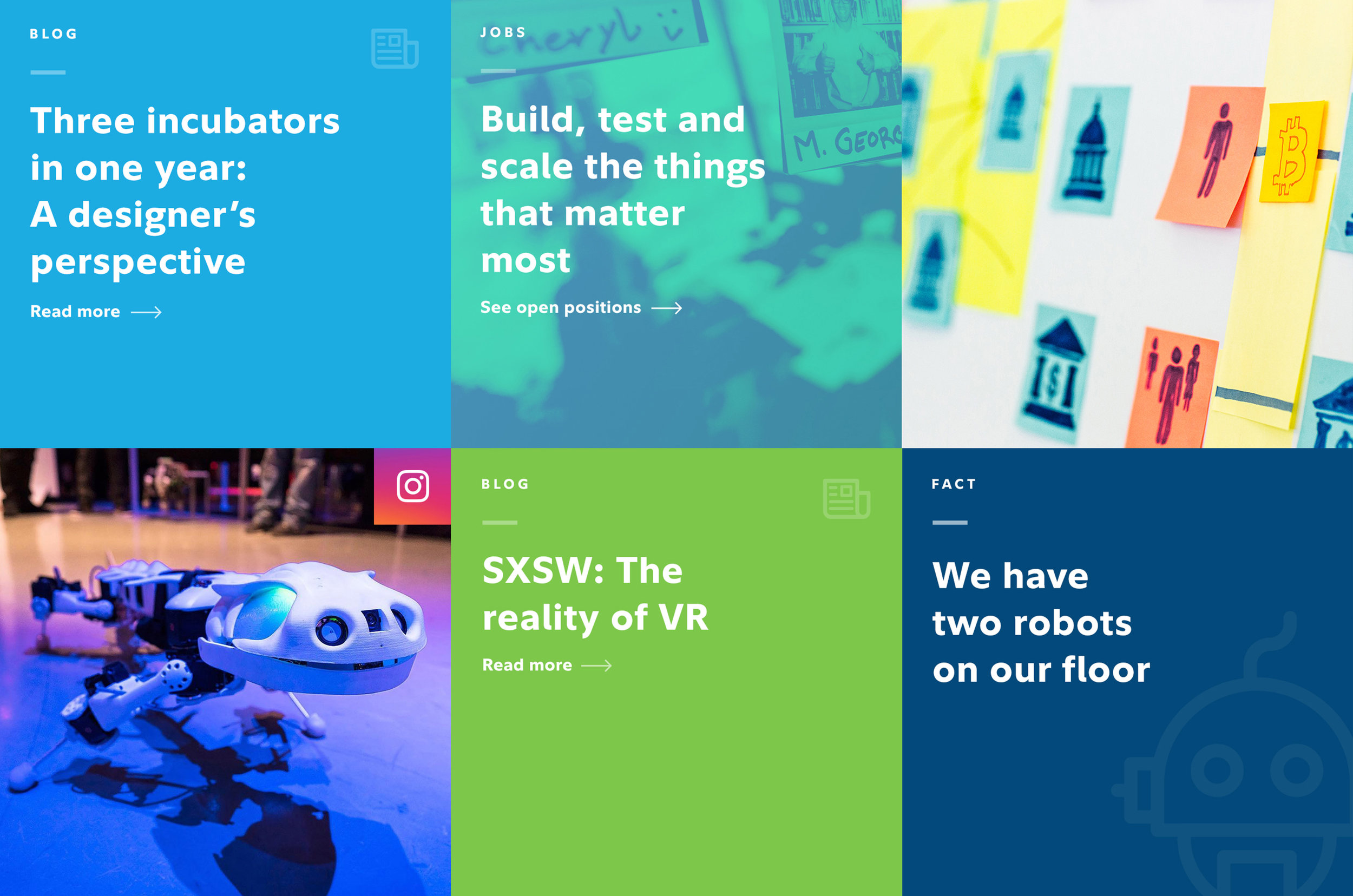 A modular grid added visual interest, brand personality and provided a way to bubble up interesting content elsewhere on the site.