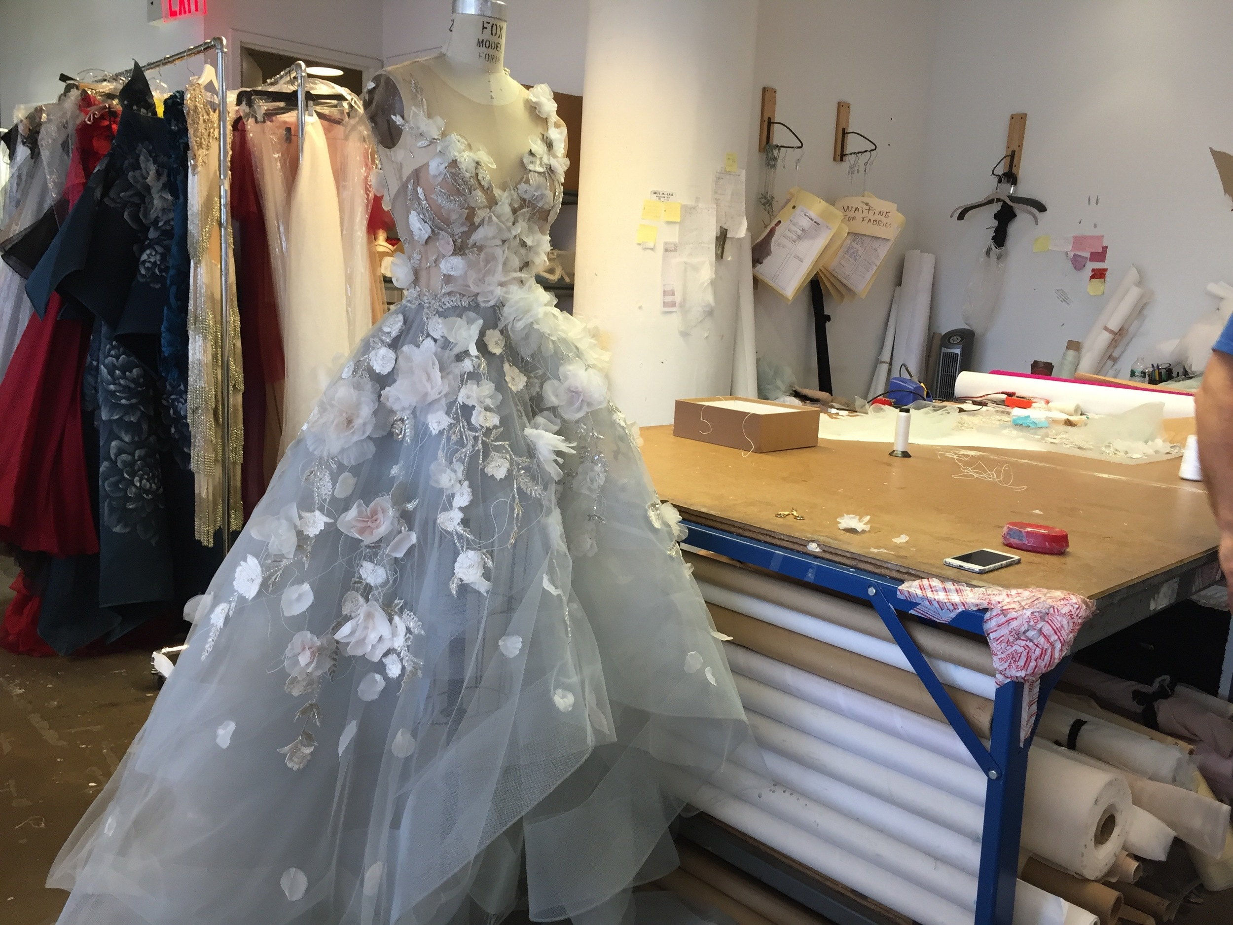 Here's the dress coming together at the Marchesa studio on the night before the gala