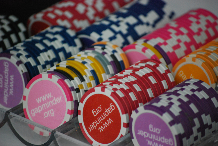 Custom gaming chips used by the players