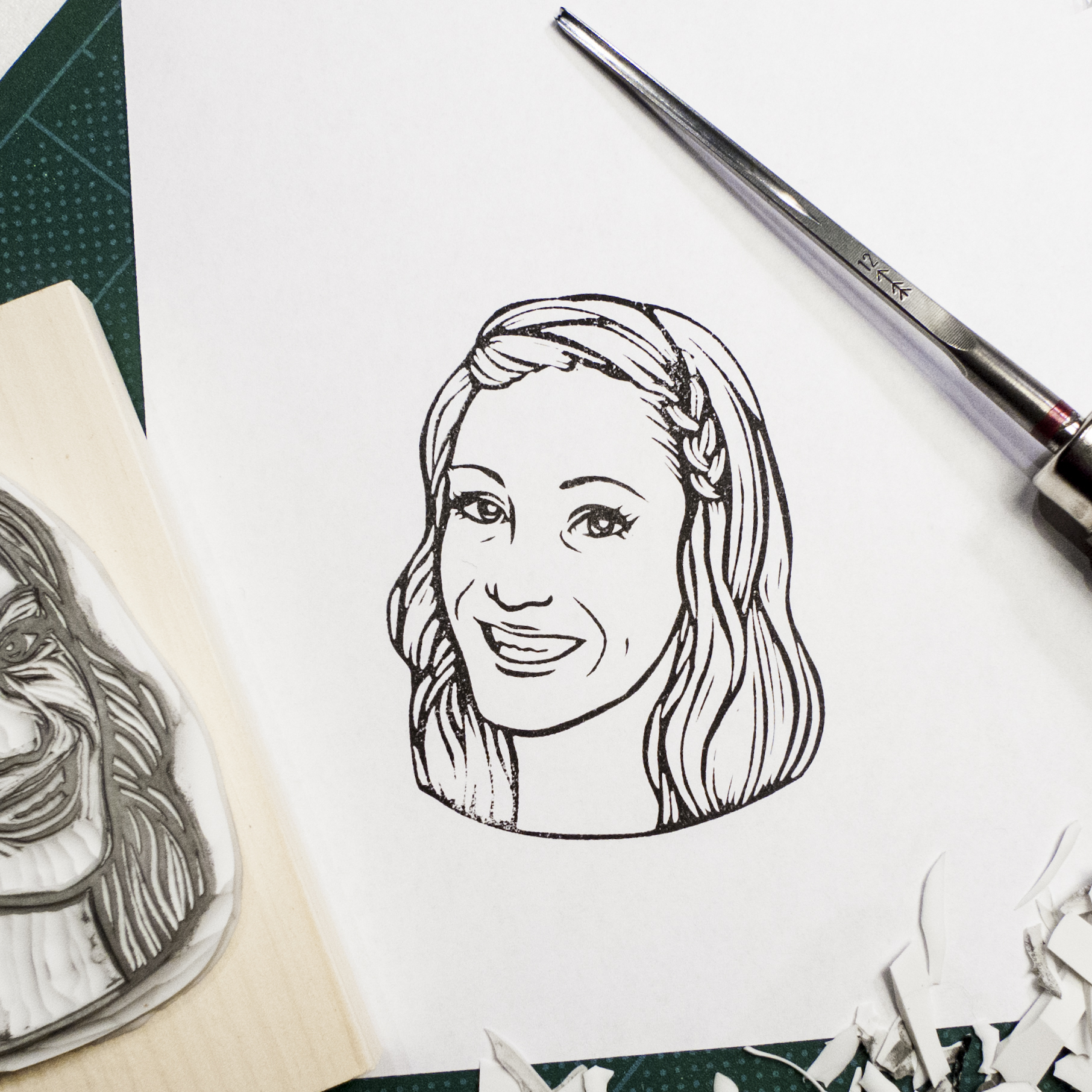 The girl commissioned a portrait stamp of her boyfriend from me a year ago; this time he - now her husband - wants to give back a stamp of her as a Christmas present. <3