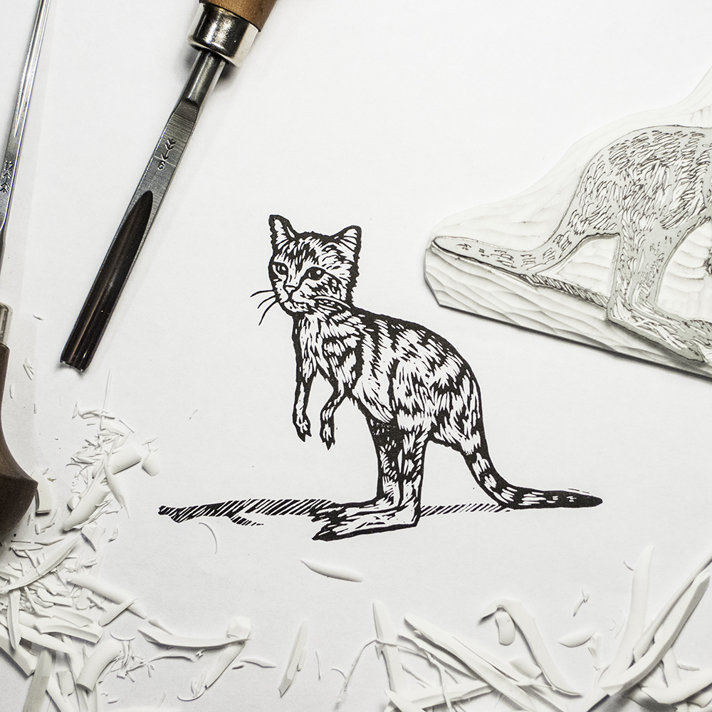 Custom cat-kangaroo stamp :)